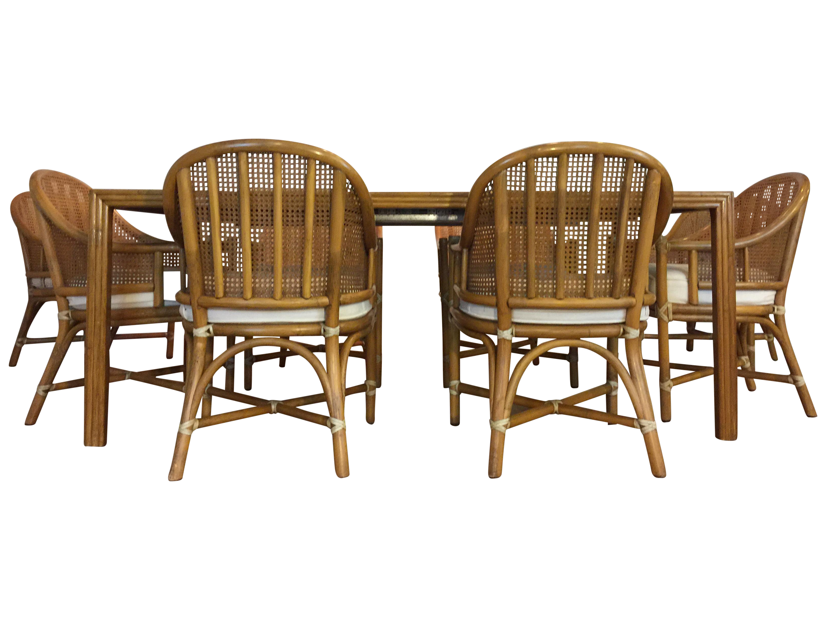Bamboo dining table set - Image Of Mcguire Bamboo Rattan Dining Set