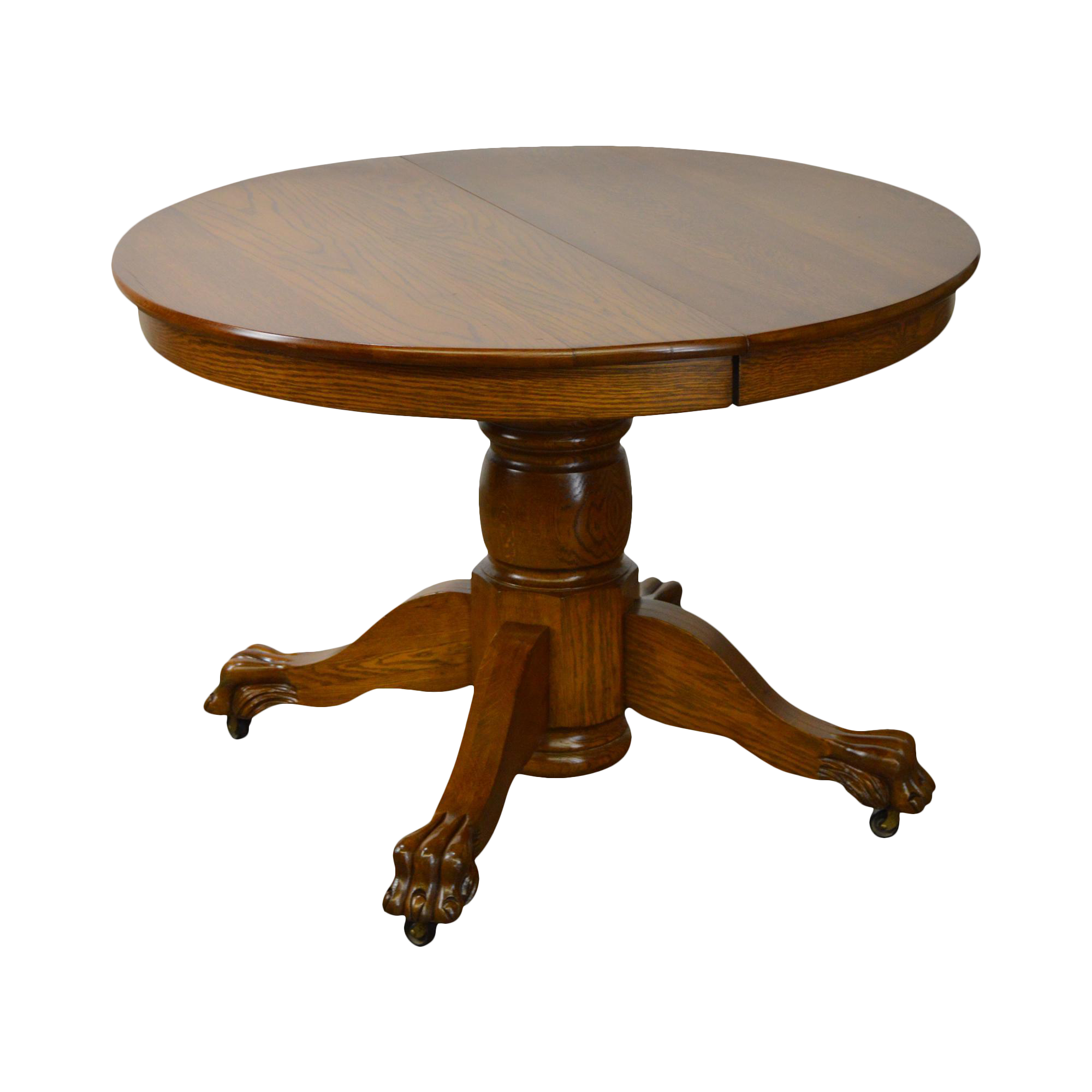 Solid oak victorian style 42 round claw foot extension dining solid oak victorian style 42 round claw foot extension dining table chairish geotapseo Gallery