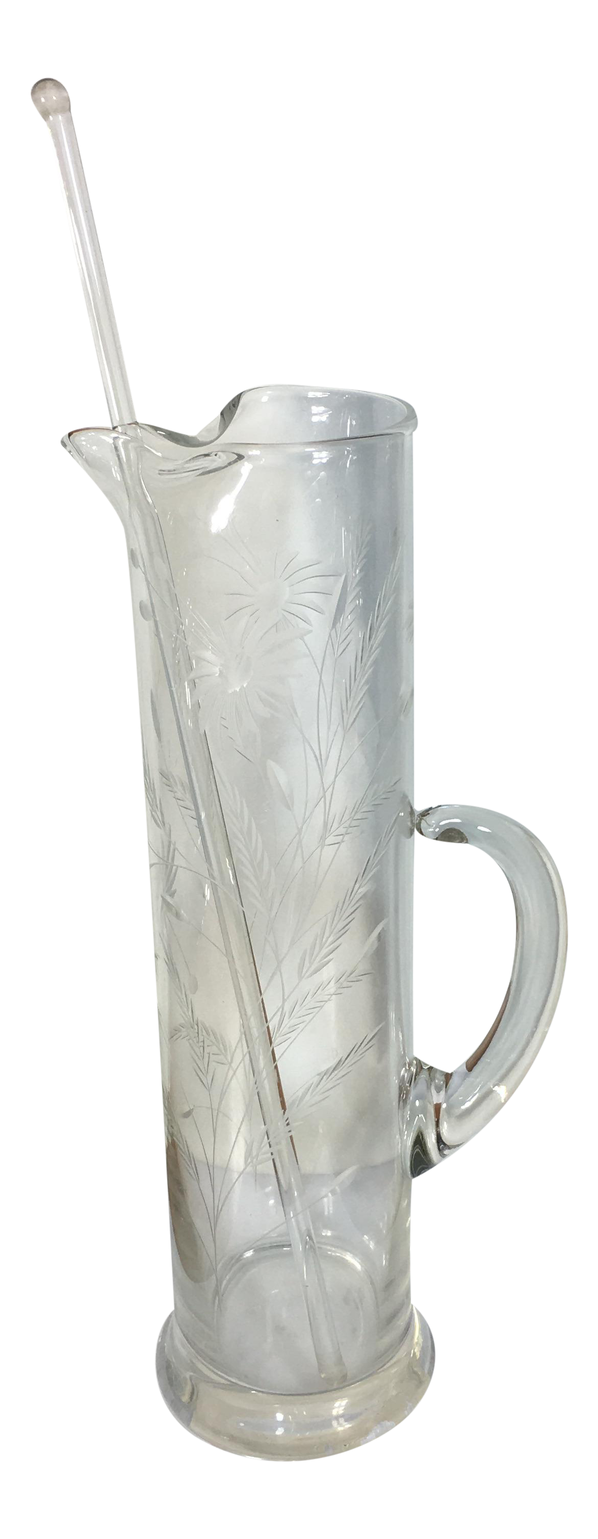 Vintage Etched Glass Cocktail Pitcher With Glass Stirrer