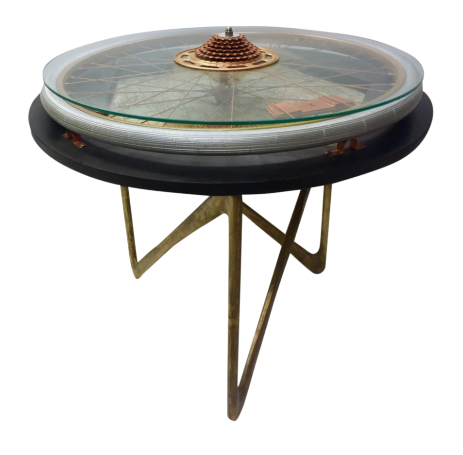 Glass top bicycle wheel accent table chairish for Bicycle wheel table