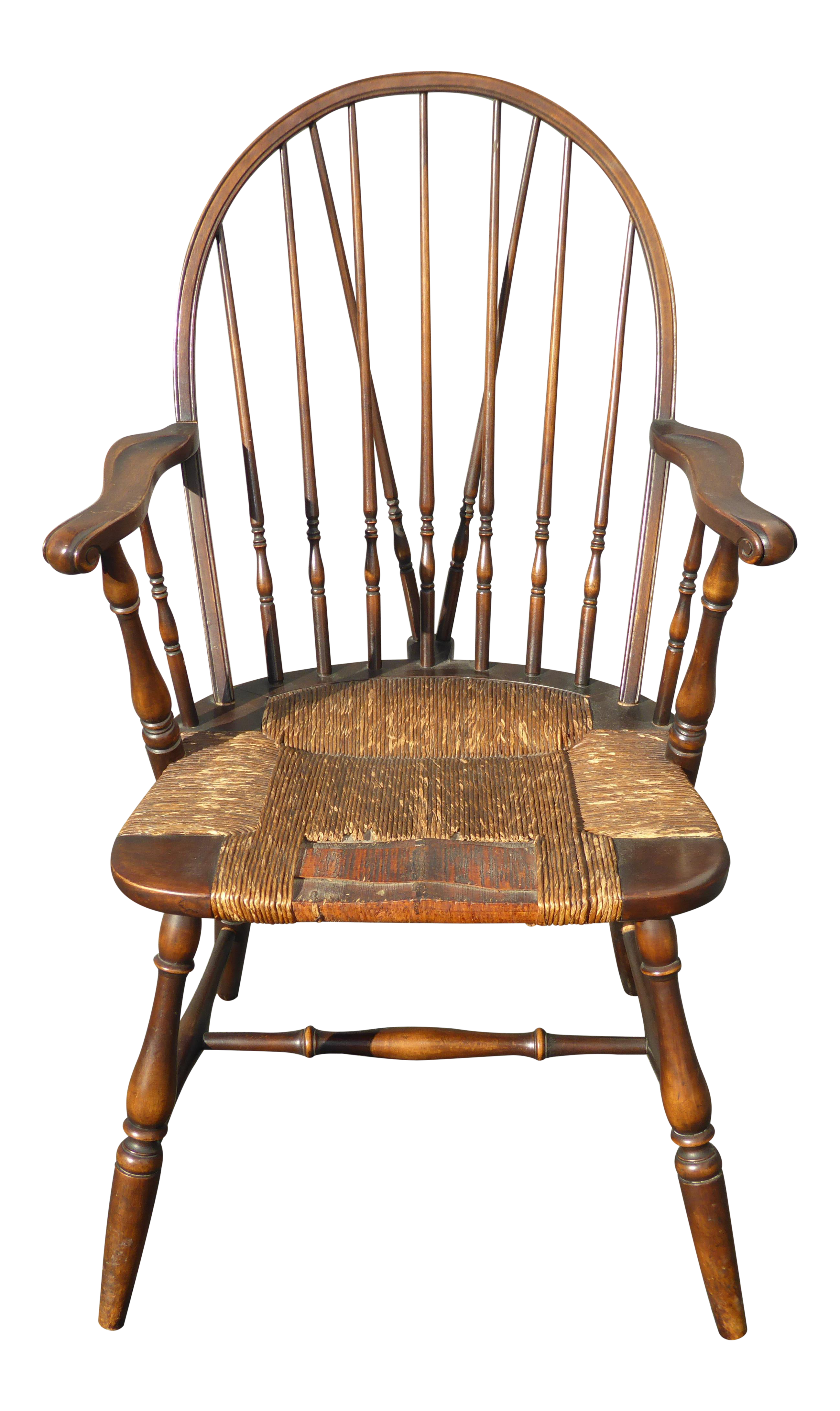 B Amp S Co Solid Wood Rush Seat Rustic Windsor Arm Chair