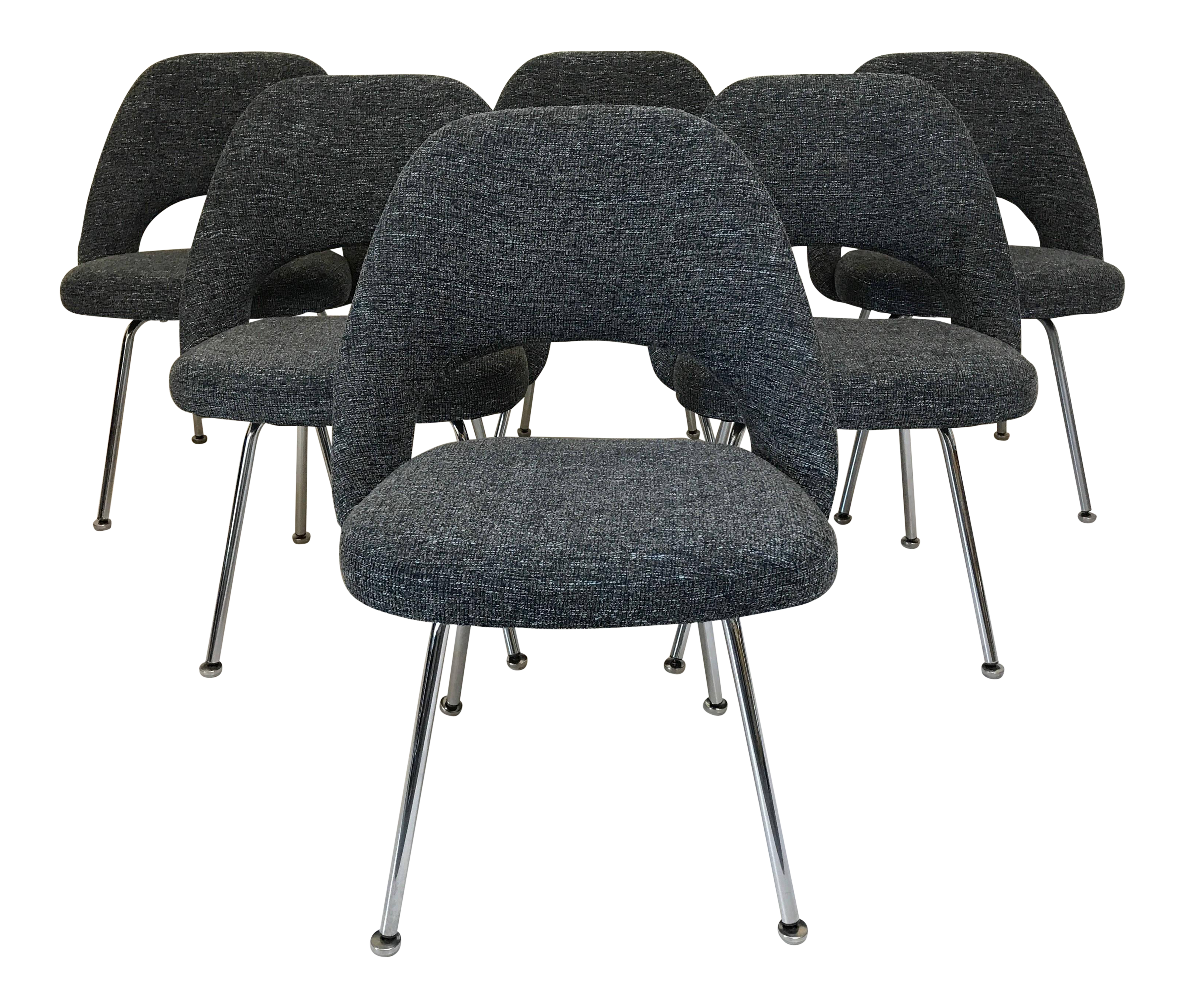 Vintage armless chairs - Vintage Saarinen Knoll Executive Armless Dining Chairs Set Of 6 Chairish