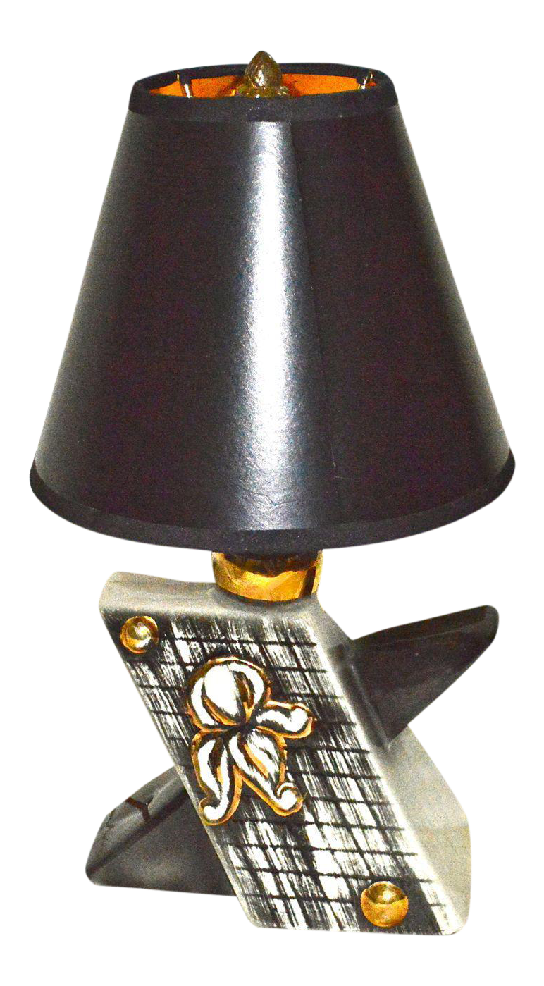mid century black gold lamp with shade chairish. Black Bedroom Furniture Sets. Home Design Ideas