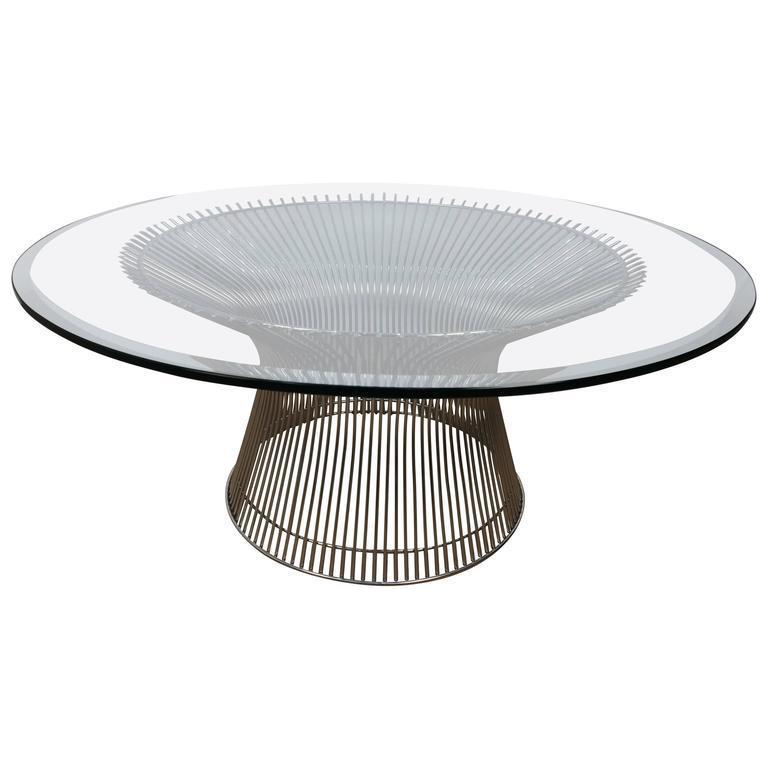 warren platner chrome and glass coffee table   chairish