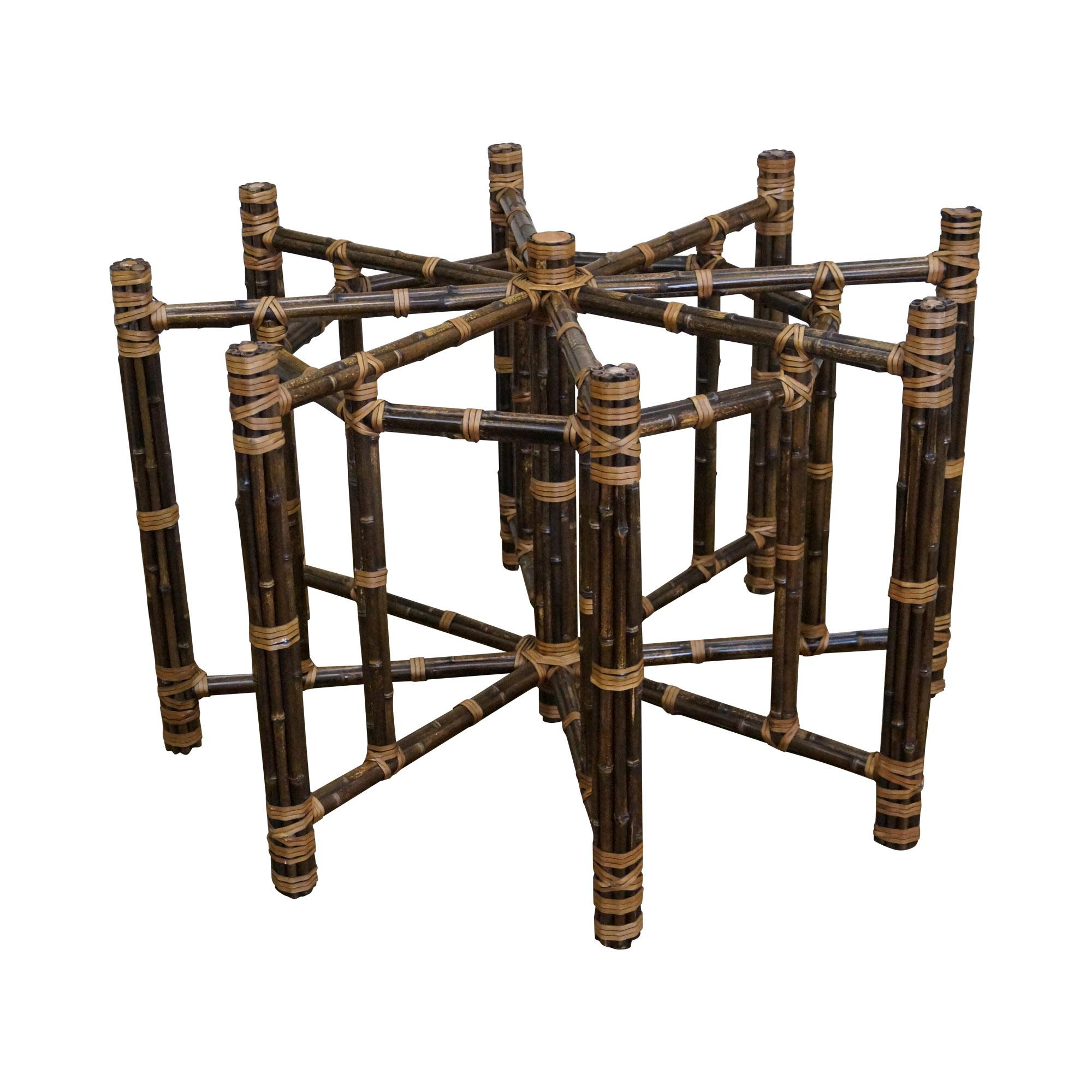 Black bamboo dining table - Image Of Mcguire Octagonal Black Bamboo Dining Table Base