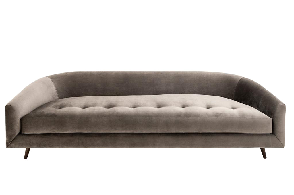 Clad home curved velvet button tufted sofa chairish for Button tufted velvet chaise settee