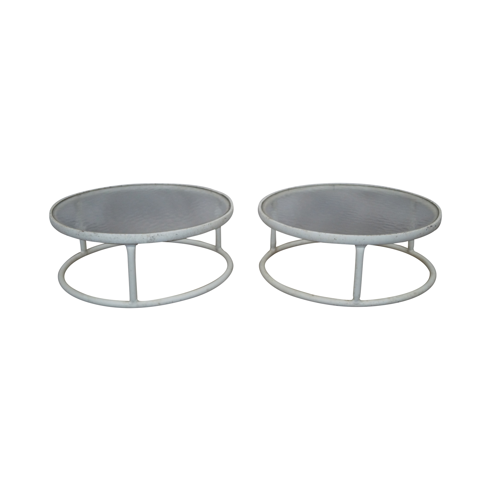 Brown Jordan Round Aluminum Glass Side Tables B Chairish