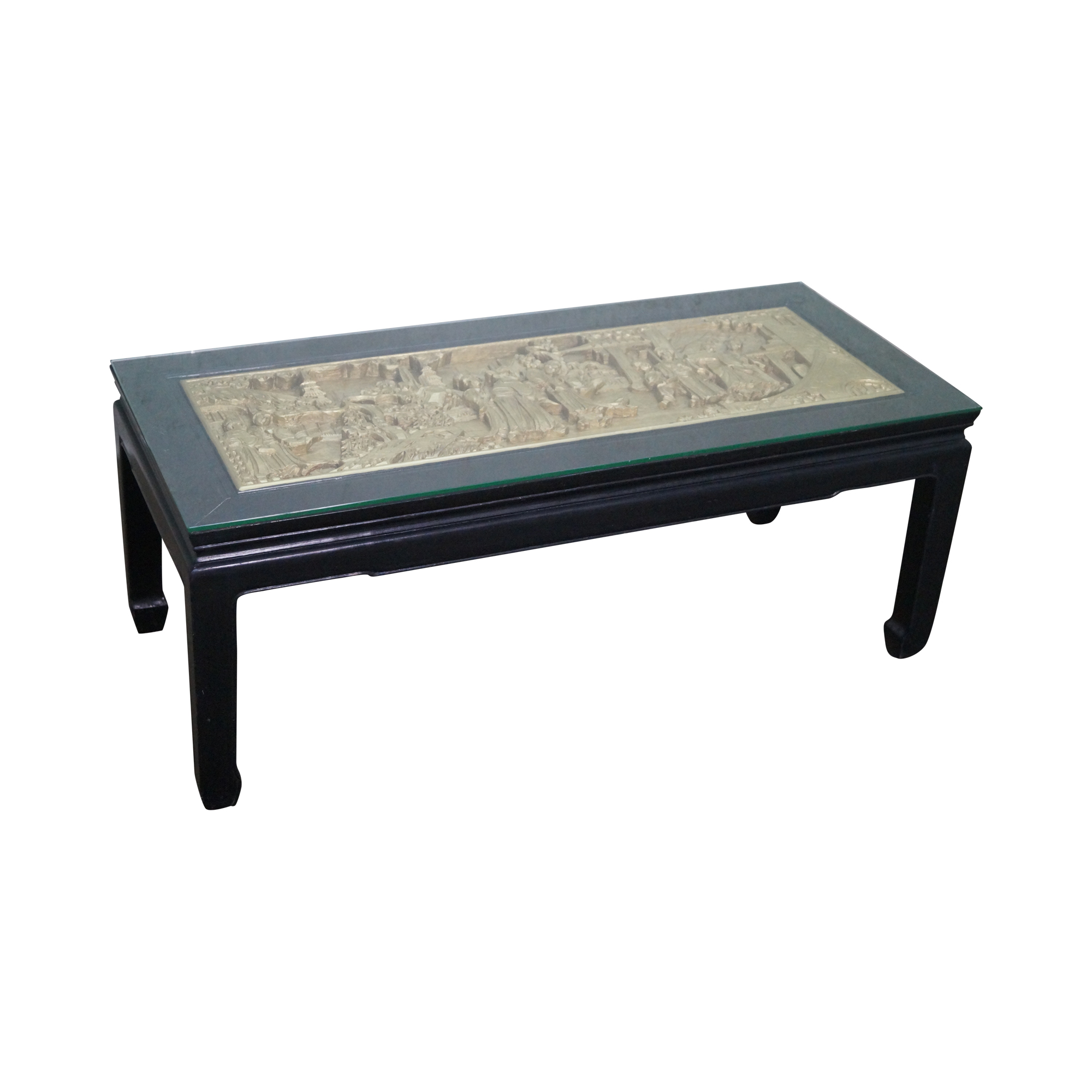 vintage black gold chinese coffee table chairish