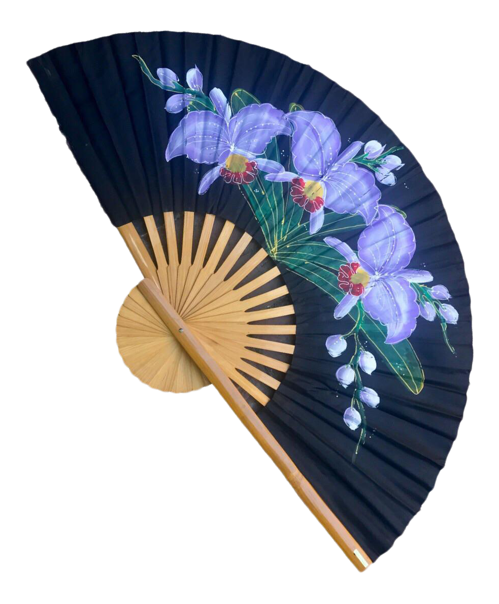 Decorative Wall Fans : Vintage asian silk bamboo decorative wall fan chairish