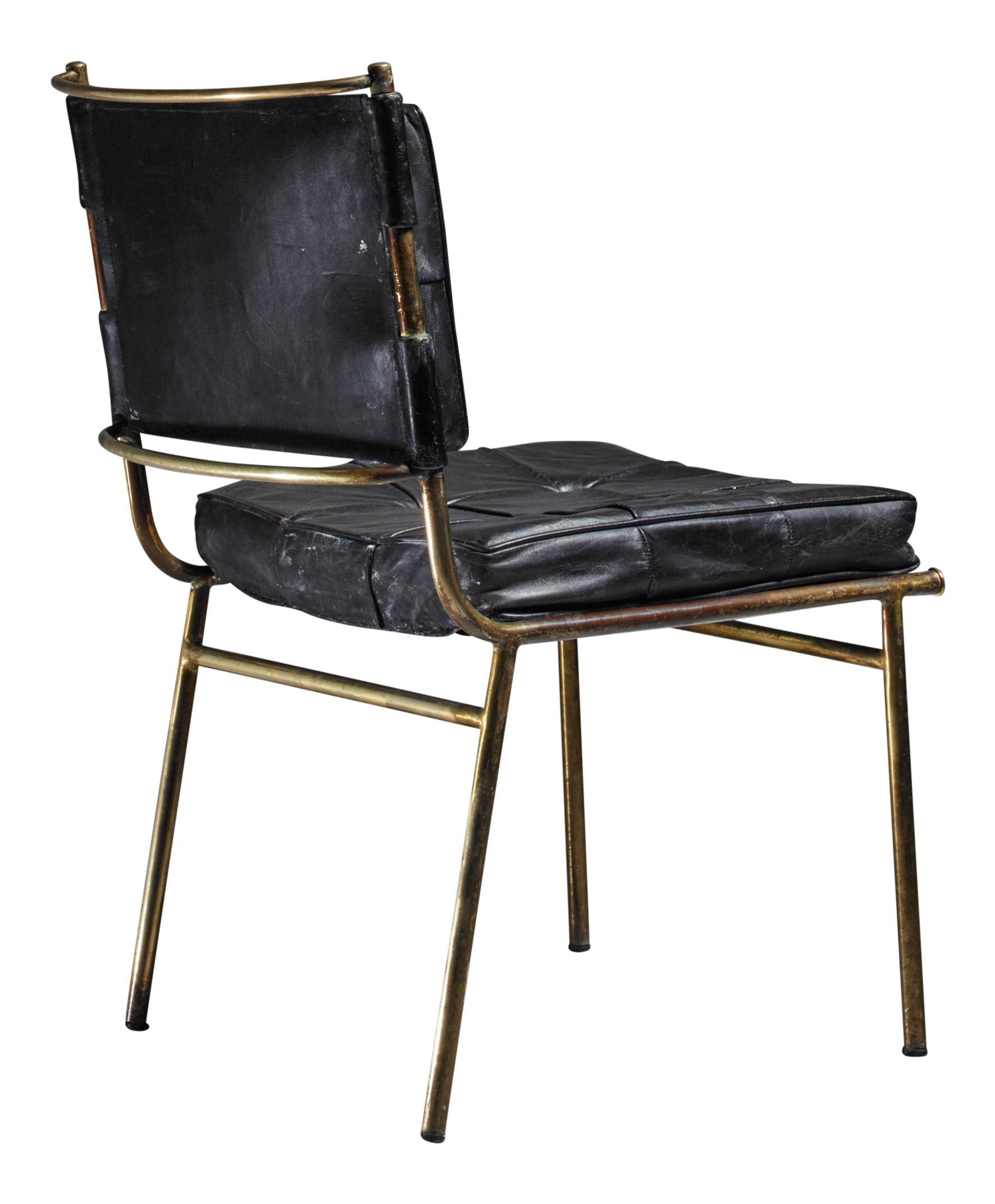 Superior Mathieu Matégot Rare Chair with Brass Frame and Leather