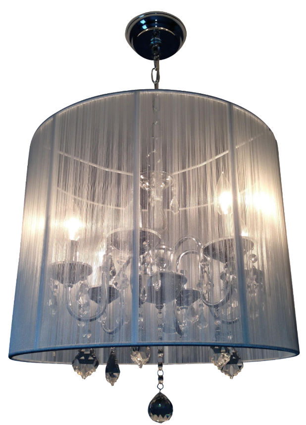 6-Light Polished Nickel Silk String Chandelier Chairish