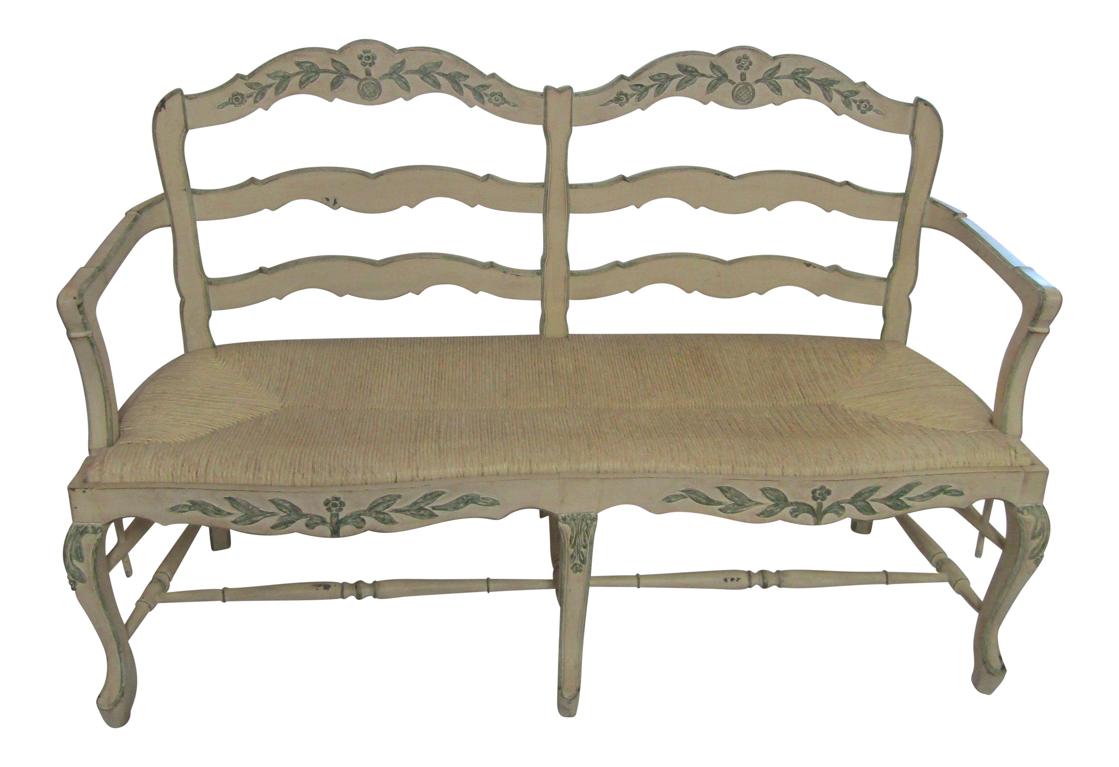 Hand Painted And Carved Woven Rush Seat Bench Chairish