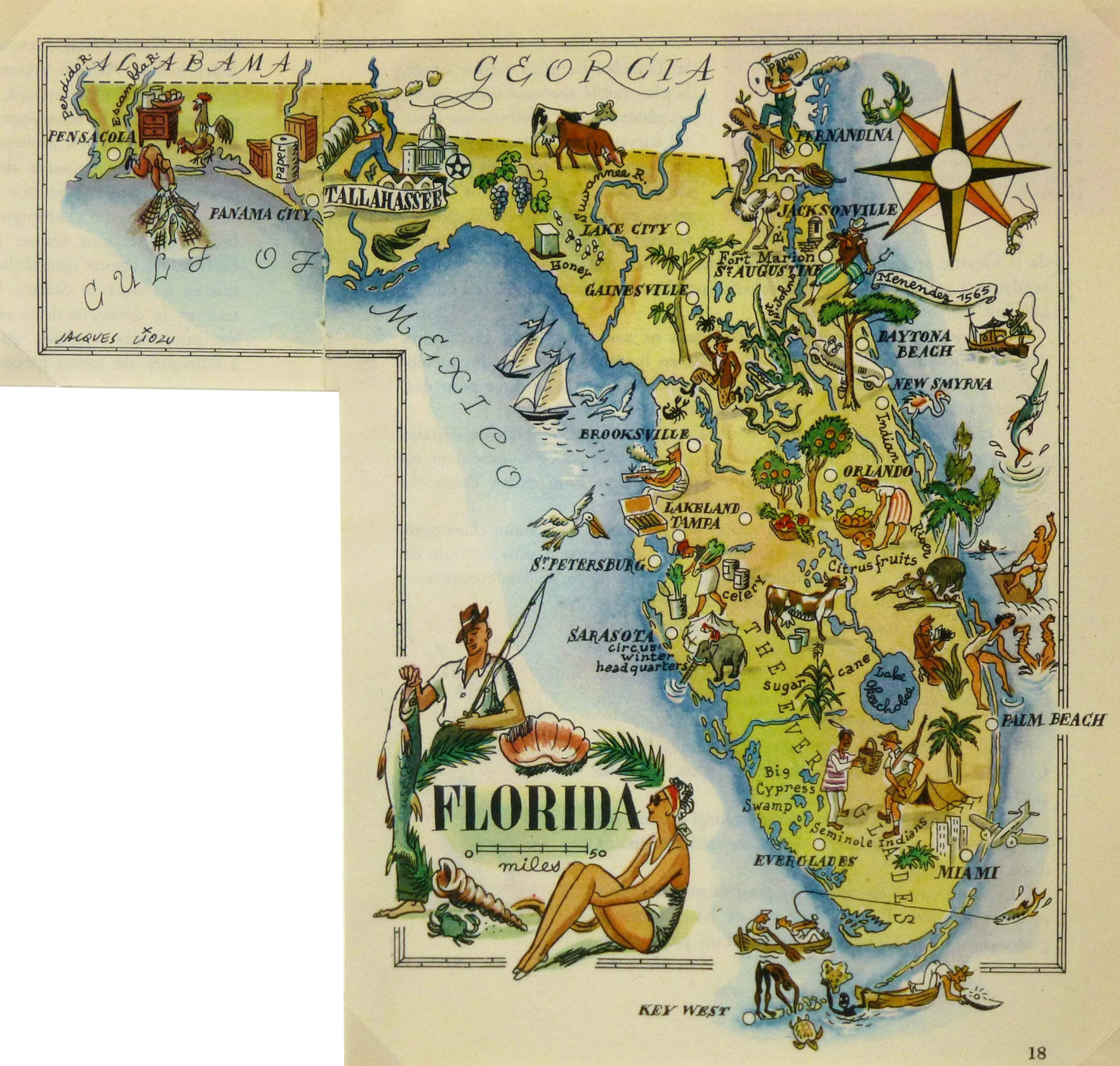 Vintage 1946 Florida Pictorial Map Chairish