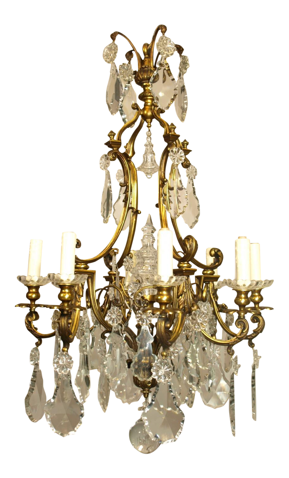 world class antique chandelier gilt bronze and crystal