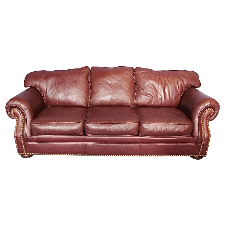 Transitional Brown Genuine Leather Nailhead Sofa Chairish