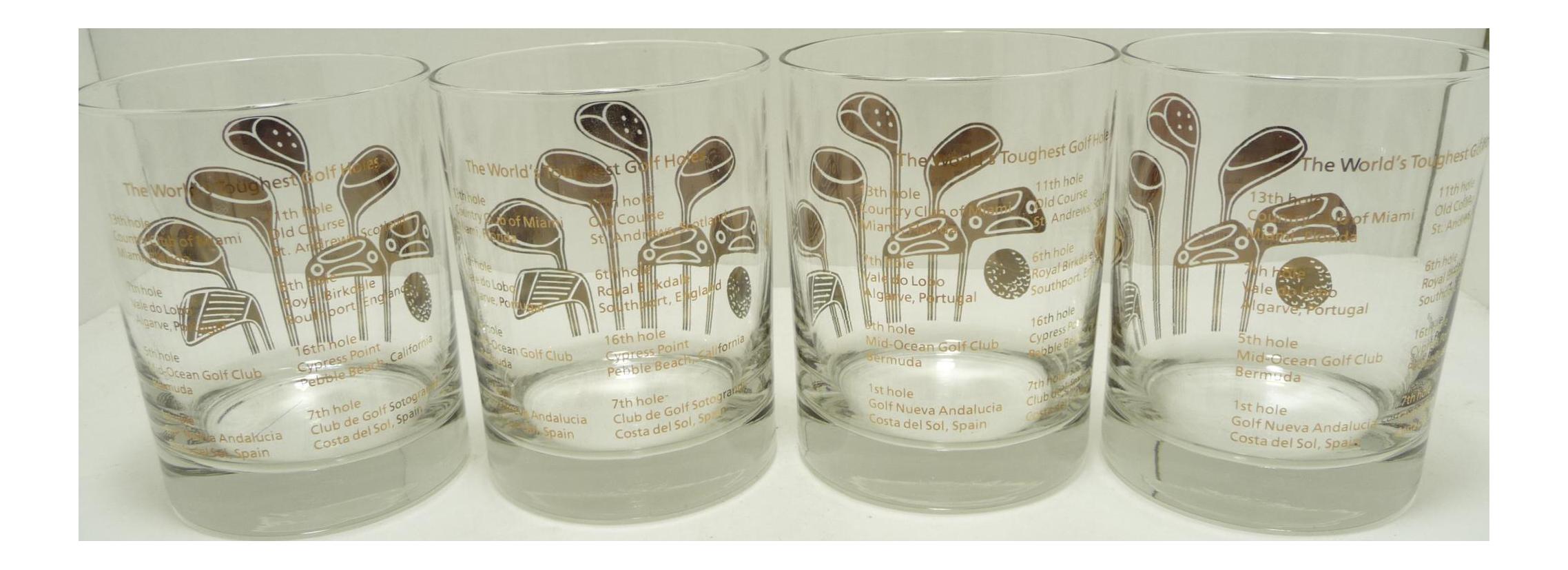 vintage gold golf club bar glasses set of   chairish - image of vintage gold golf club bar glasses set of