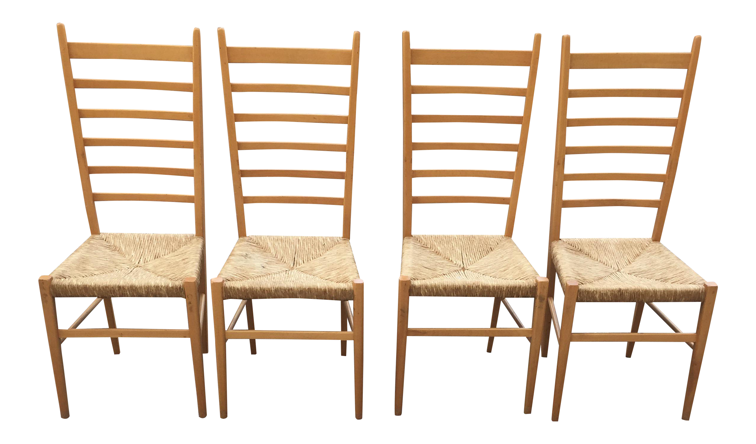 Italian Gio Ponti Ladder Back Rush Seat Chairs Set of 4