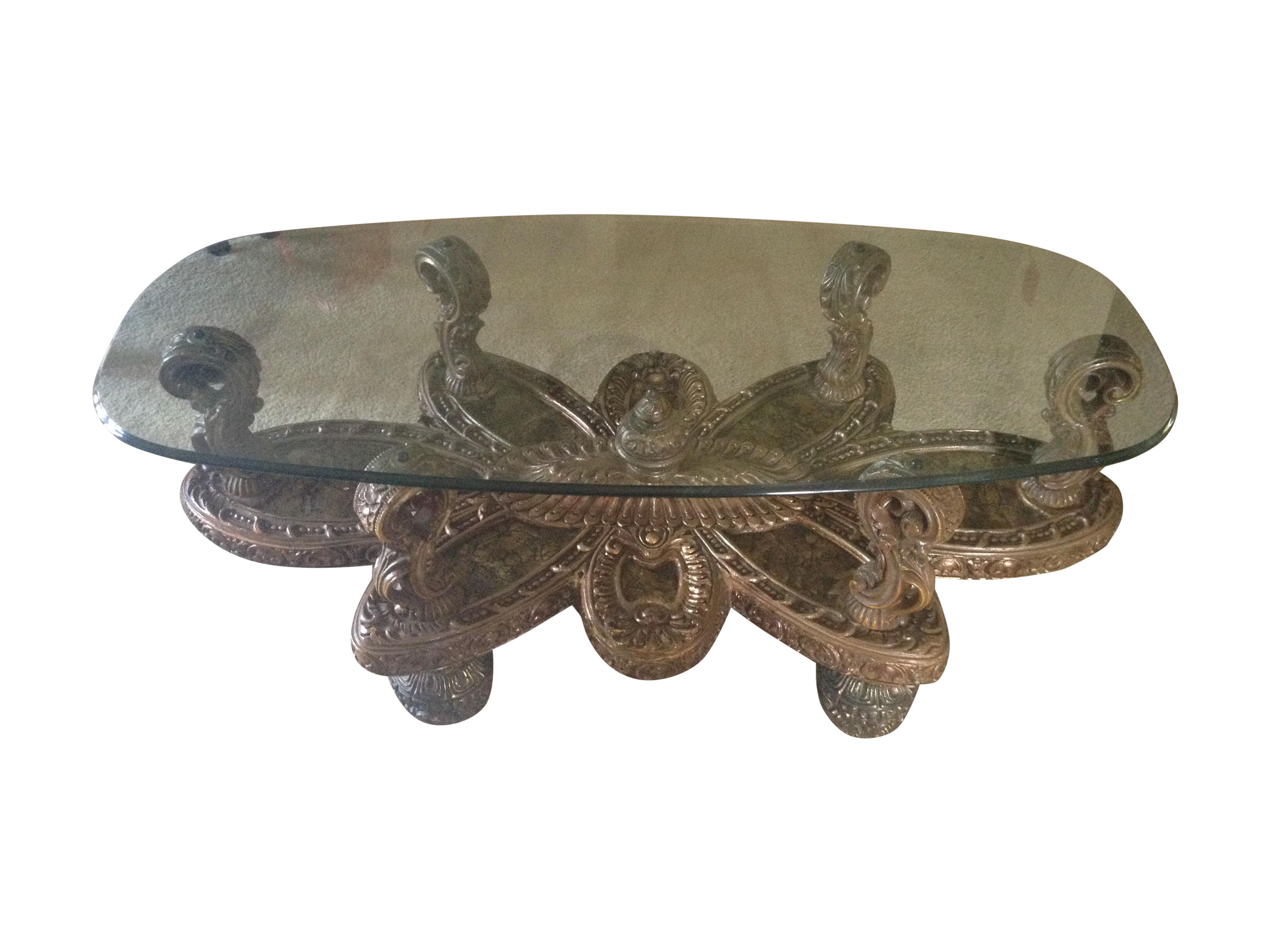 italian shell inlay baroque ornate coffee table | chairish