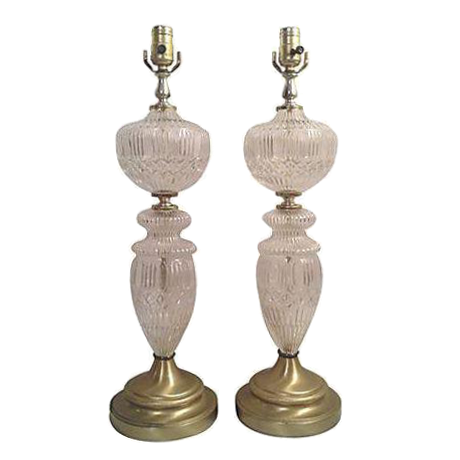 Antique Frosted Pressed Glass Table Lamps A Pair Chairish