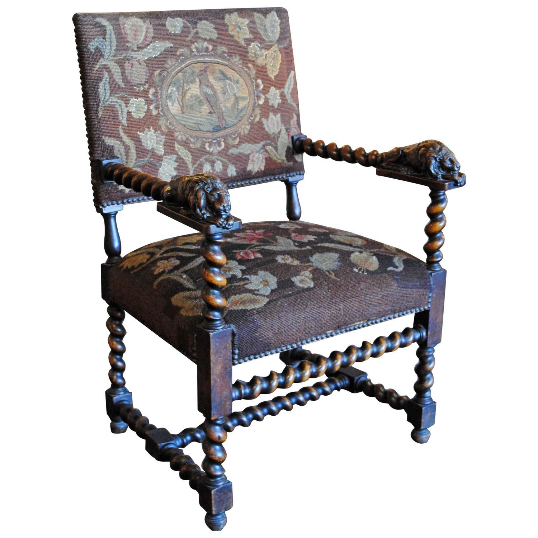 Carved Lion Barley Twist Chair : Chairish
