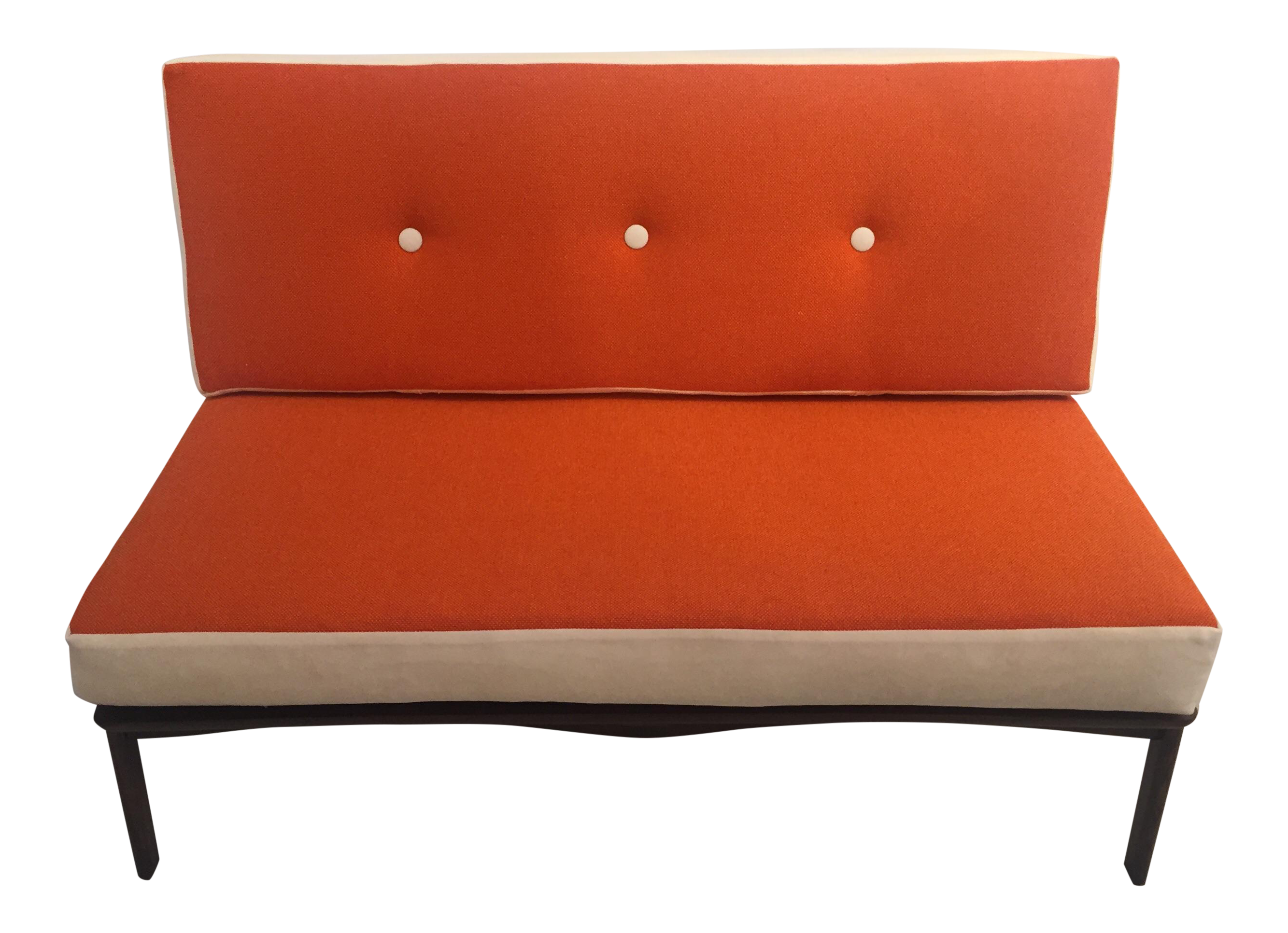 Mid-Century Walnut Settee with Reversible Cushions Chairish