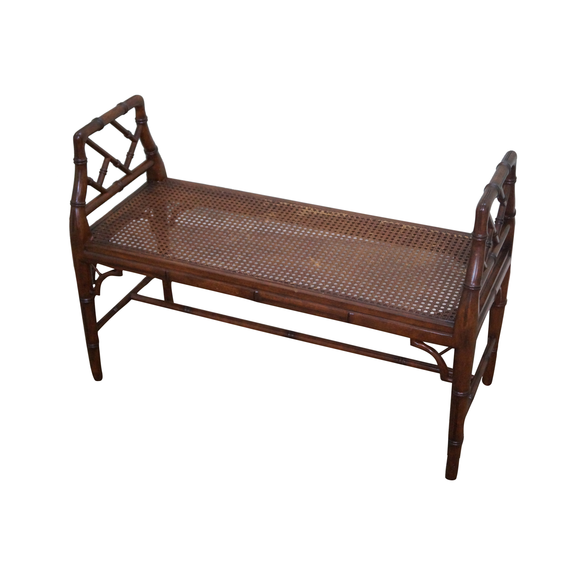 Chinese Chippendale Faux Bamboo Cane Seat Bench Chairish