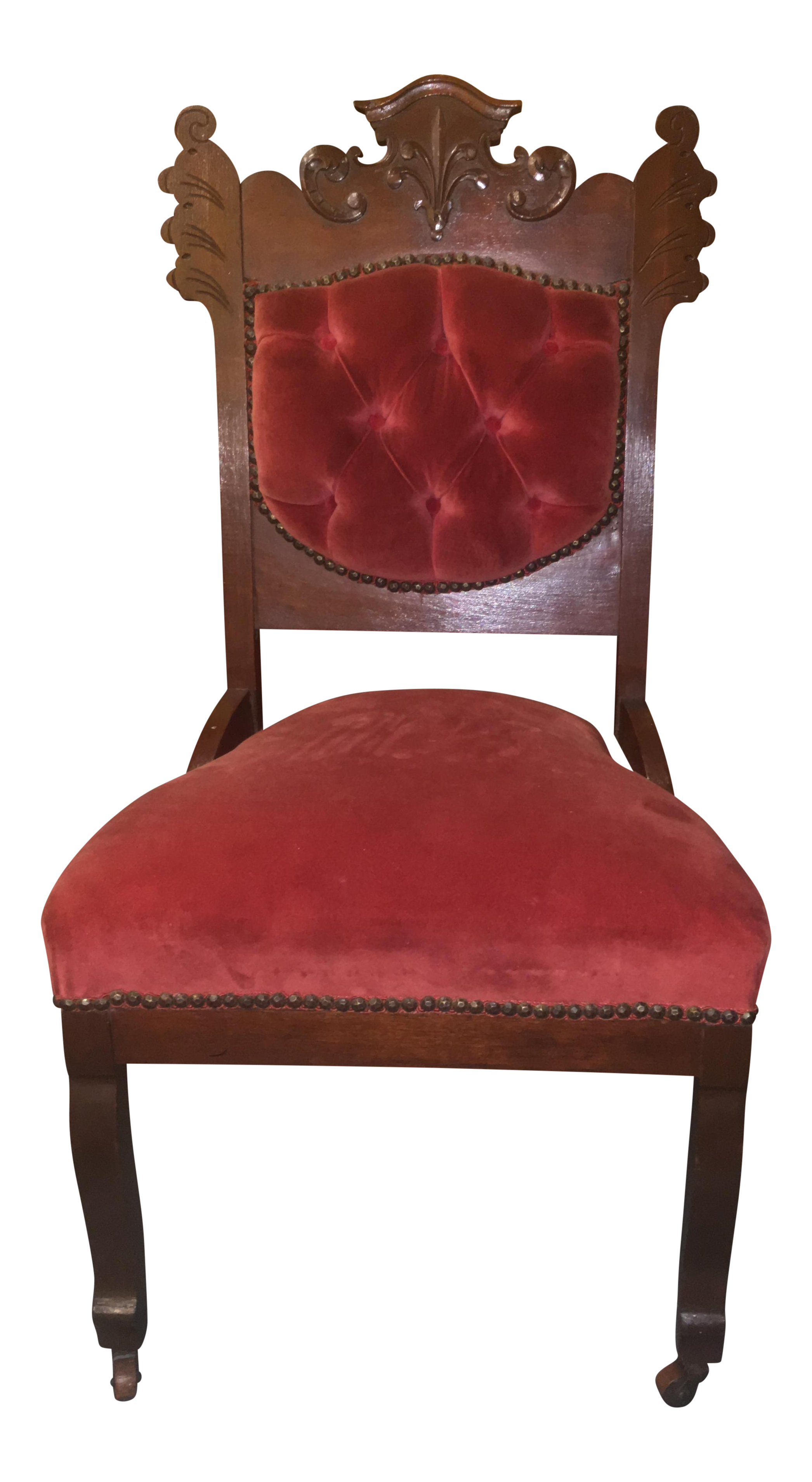 Antique eastlake style red upholstered accent or side for Red and white upholstered chairs