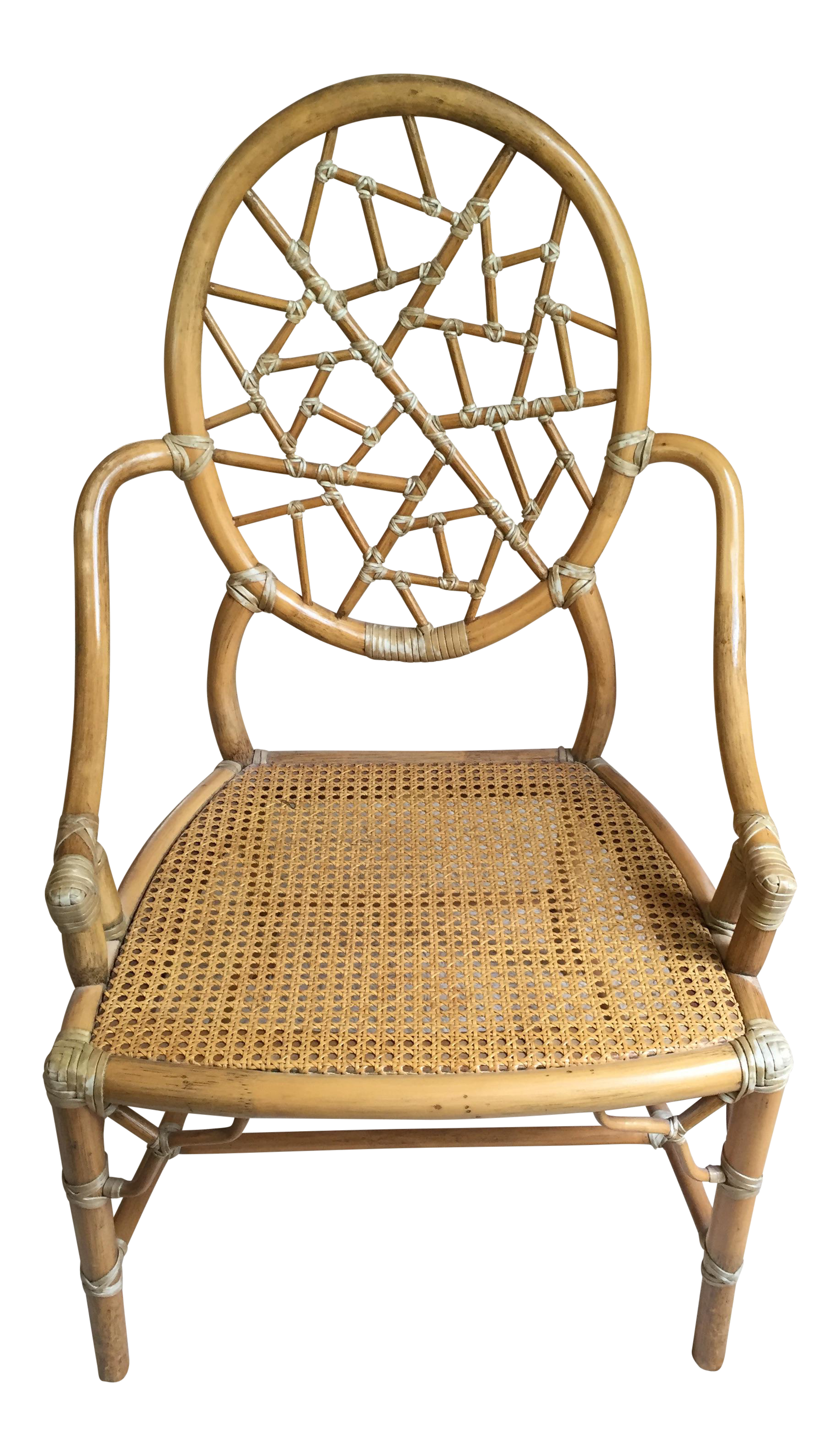 Antique lounge chairs - Vintage Mcguire Cracked Ice Rattan Chair