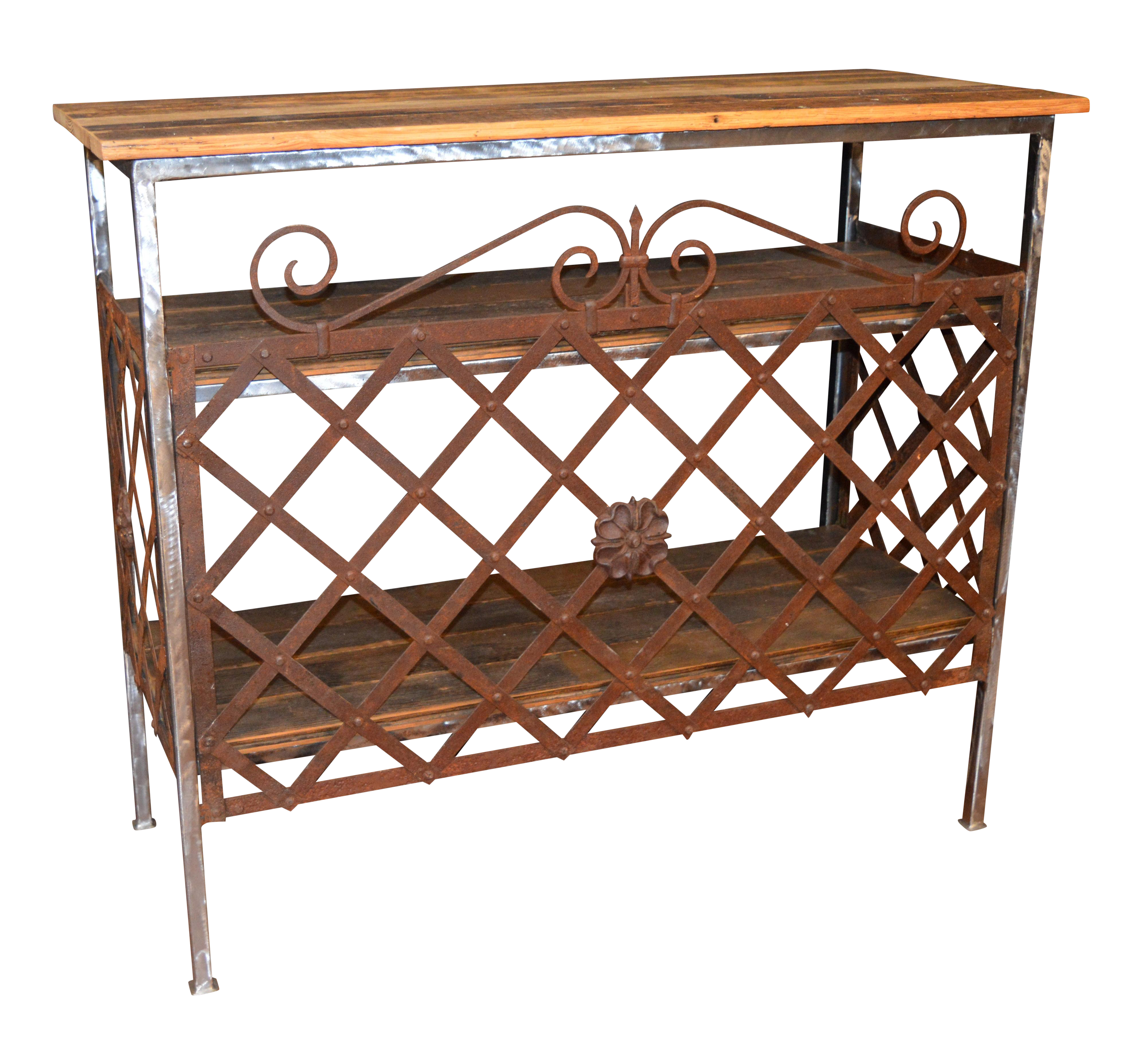 iron wood console table custom iron and reclaimed wood console table chairish 4803