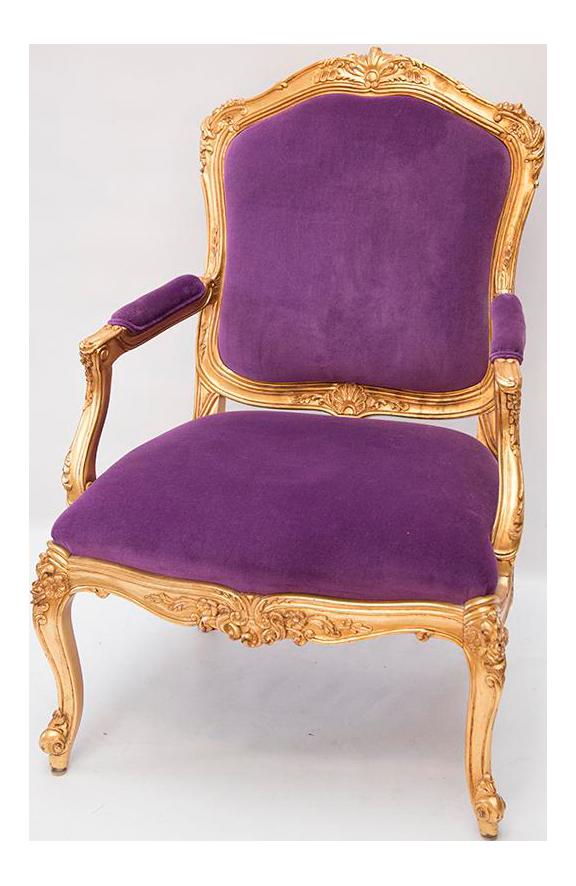 Louis Xvi Style Gilded Arm Chair In Purple Velvet Chairish