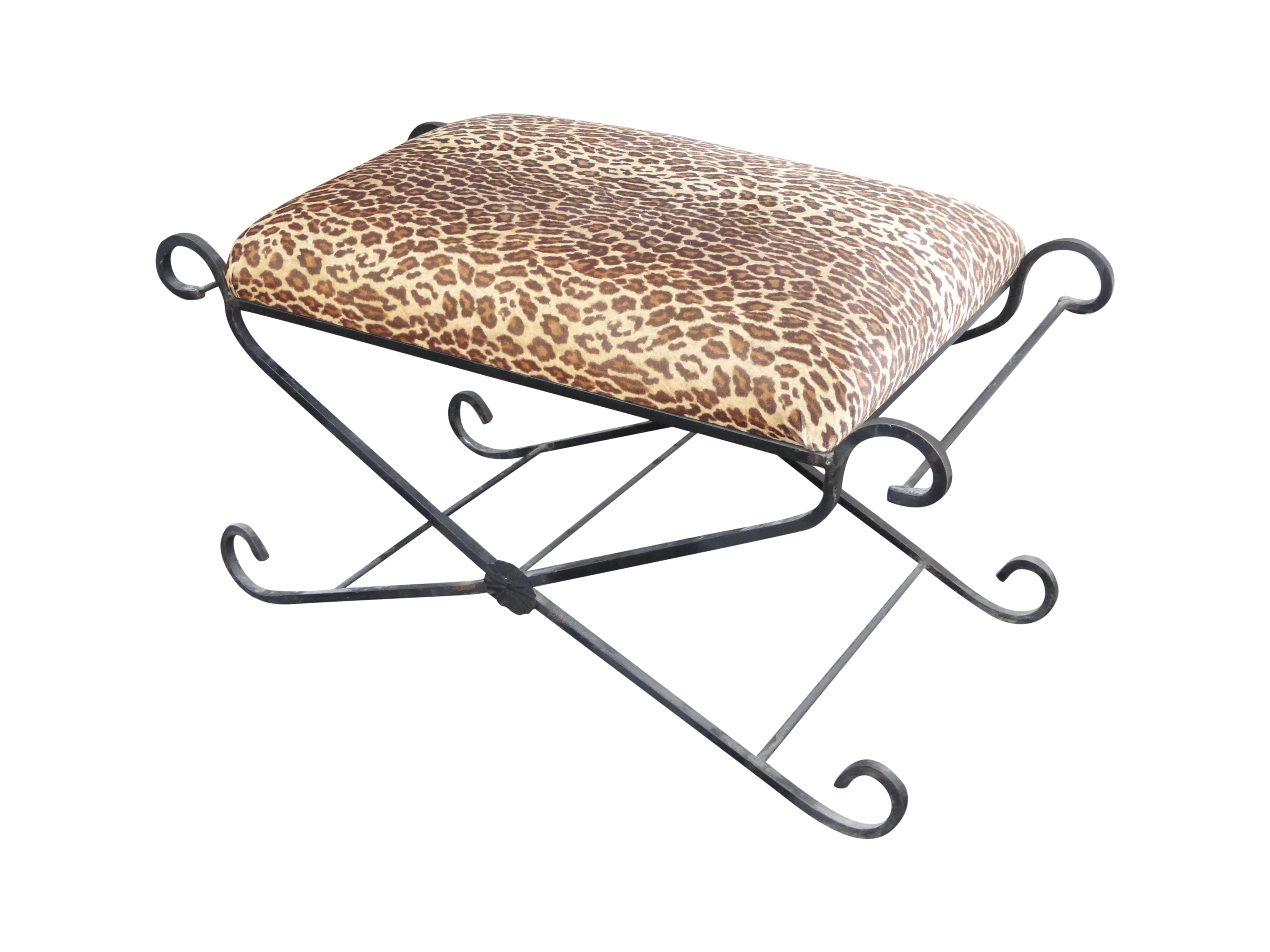 Wrought Iron Vanity vintage leopard print wrought iron vanity bench | chairish