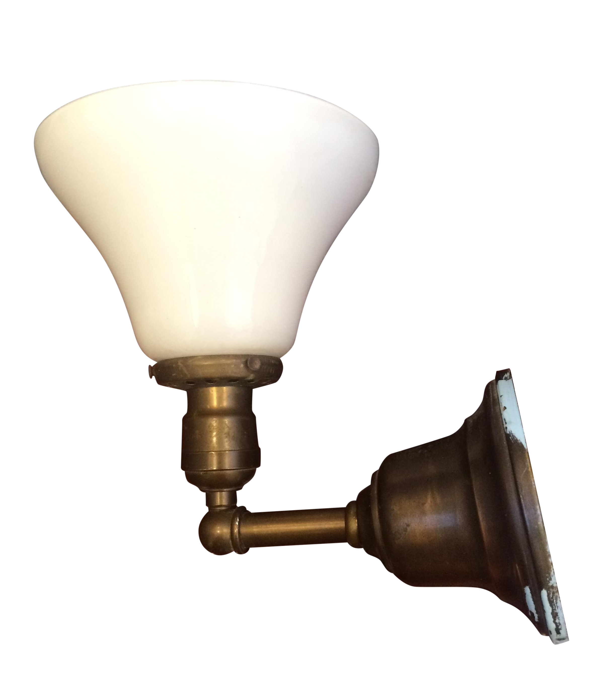 Library Style Brass Wall Sconce W Milk Glass Shade Chairish