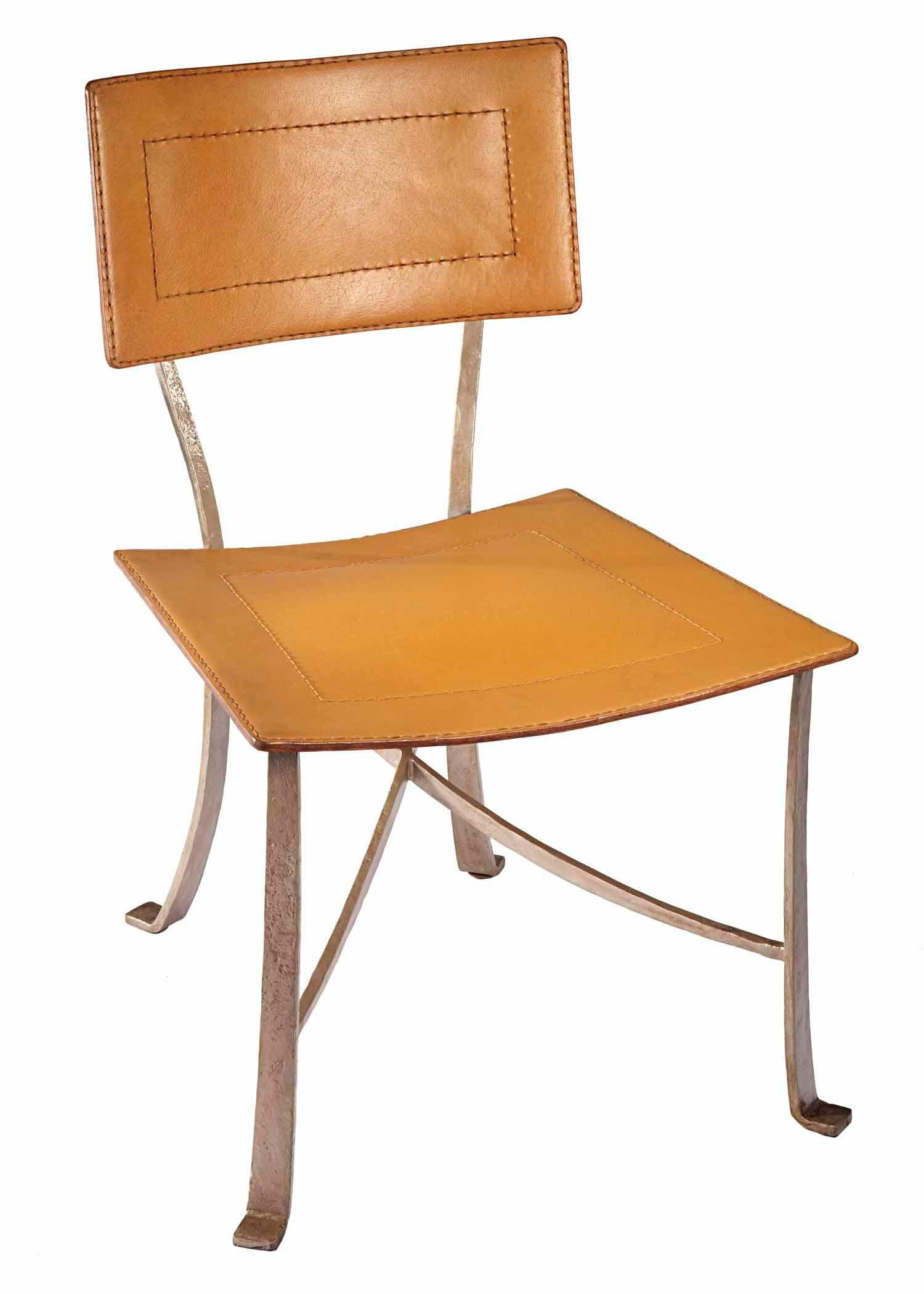 Selamat Designs Klismos Silver Wrought Iron Dining Chair