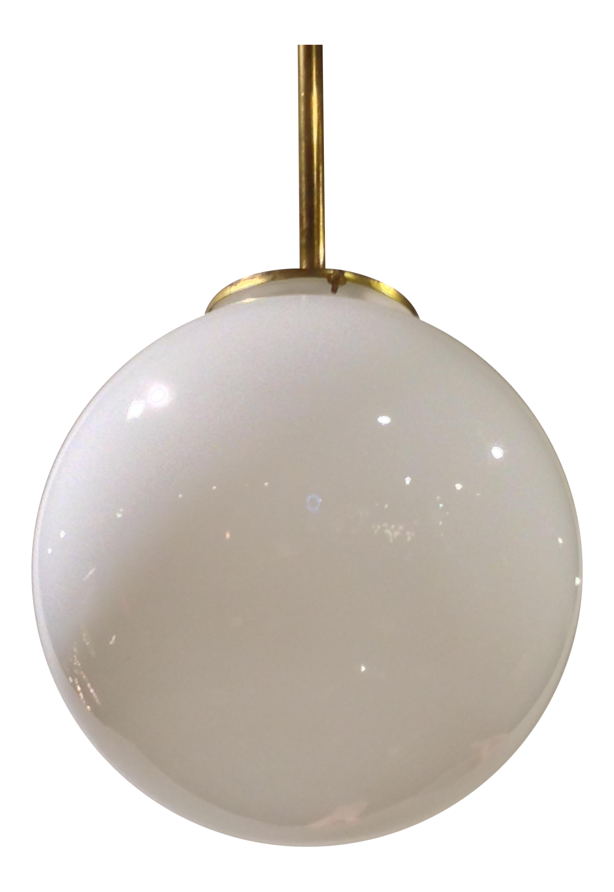 Sophisticated 1940u0027s Milk Glass Globe Pendant With Brass Rod. | DECASO