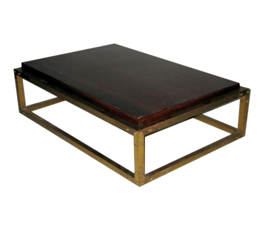 WorldClass French MidCentury Studded Brass Cocktail Table DECASO - Studded coffee table