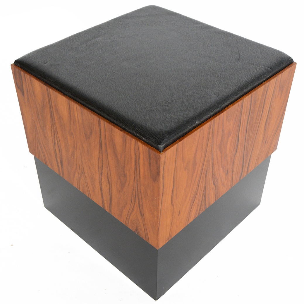 Danish modern rosewood hassock ottoman chairish for Small storage hassocks