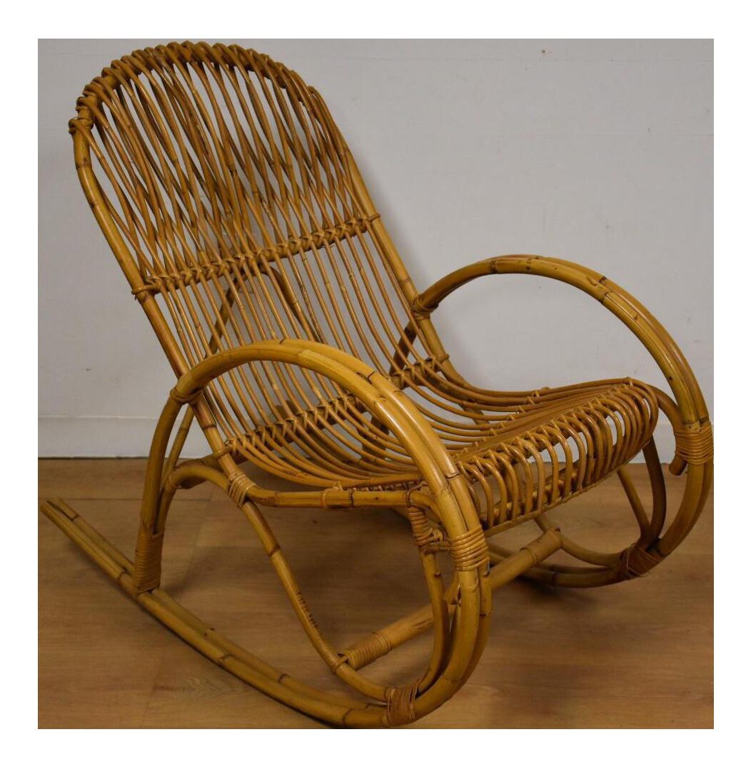 Bamboo rocking chair - Image Of Frank Albini Style Bamboo Rocking Chair
