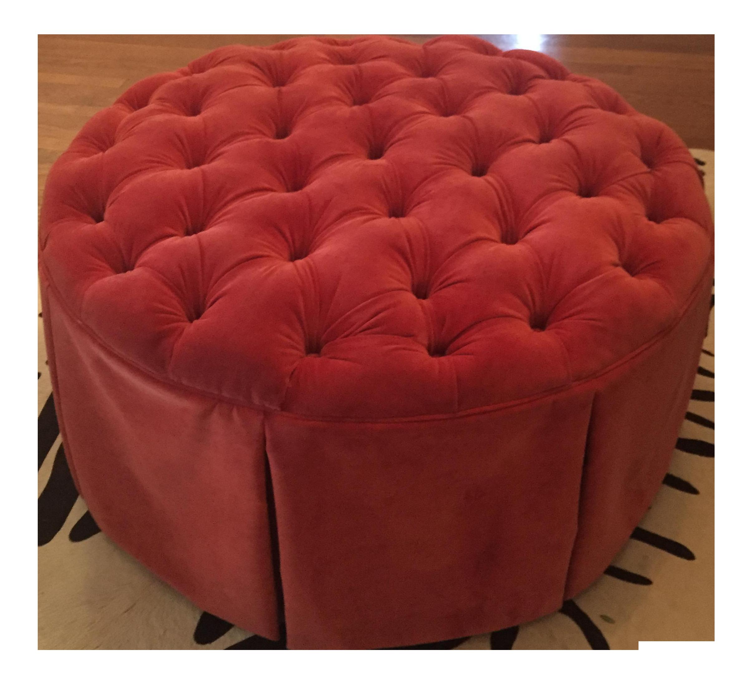 Ballard Designs Tufted Red Velvet Storage Ottoman Chairish
