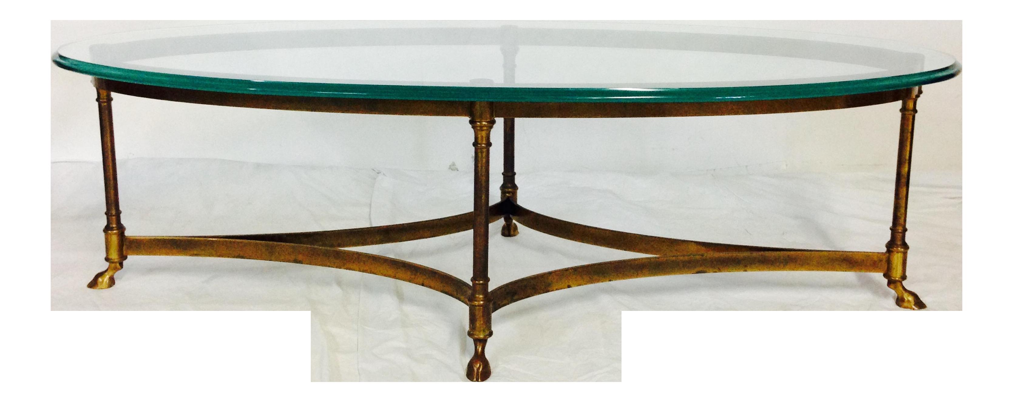 vintage labarge brass & glass hoof coffee table | chairish