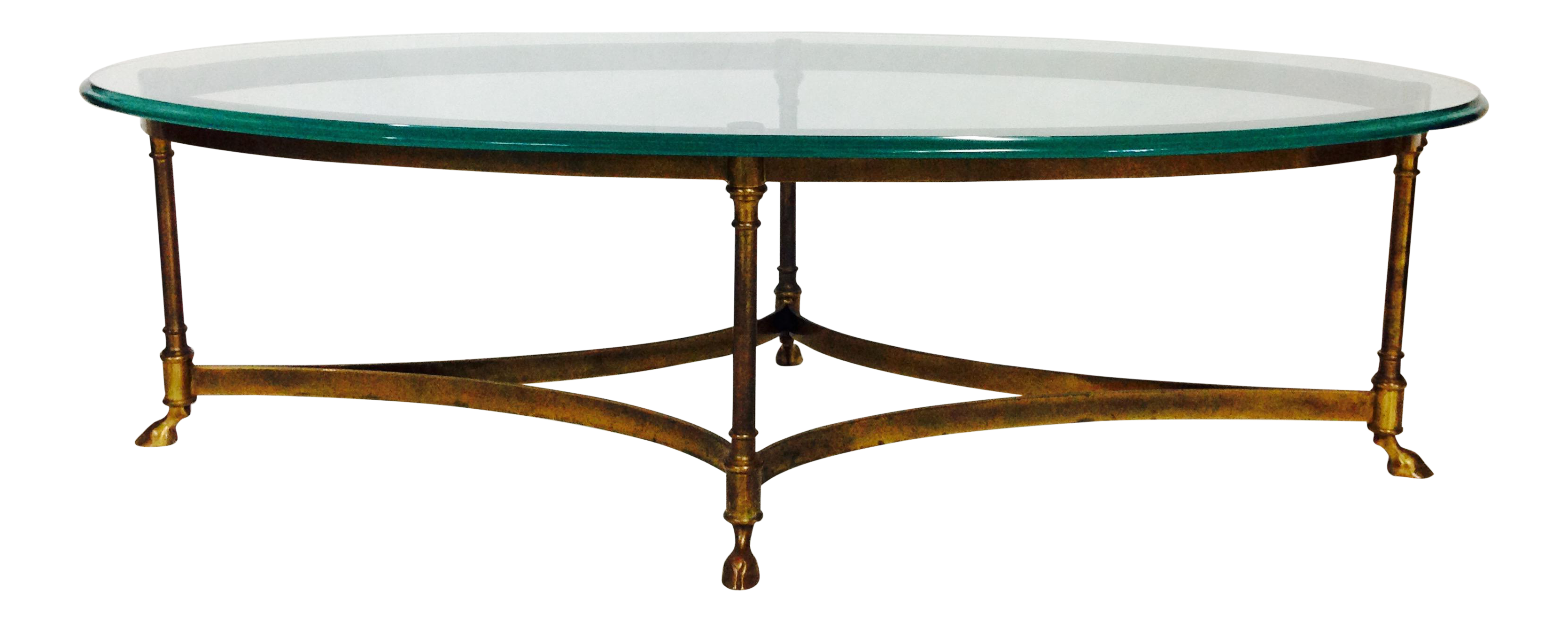 Vintage LaBarge Brass & Glass Hoof Coffee Table