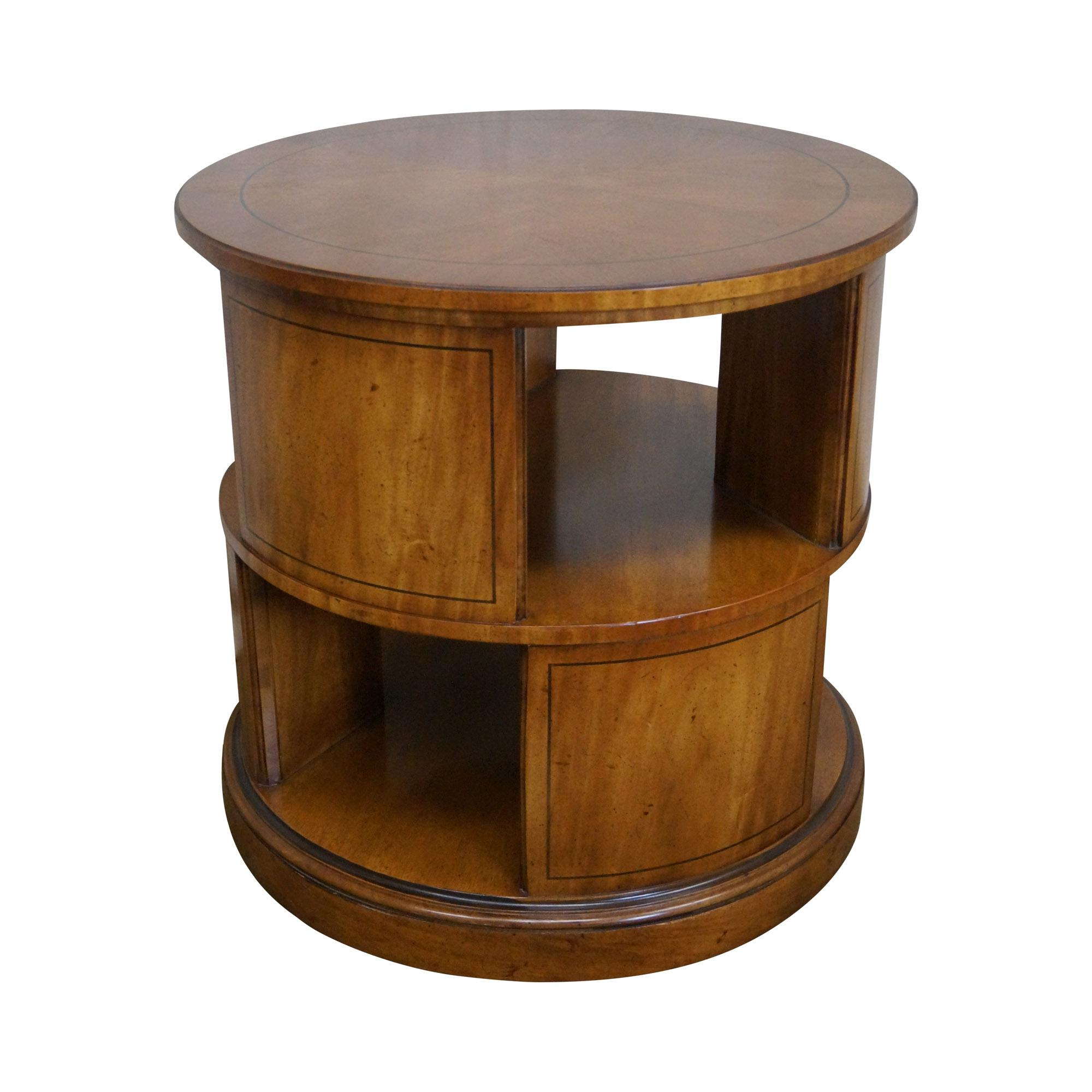 Image Of Henredon Vintage Round Revolving Bookcase Side Table