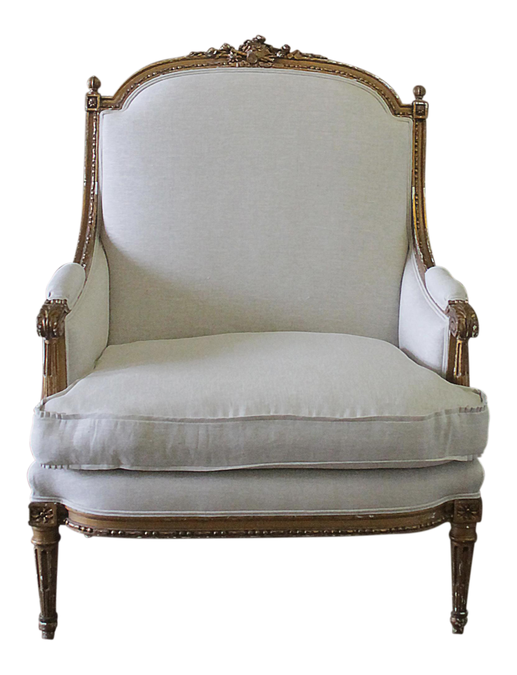 19th Century Antique Giltwood Louis XVI Style Bergere Chair