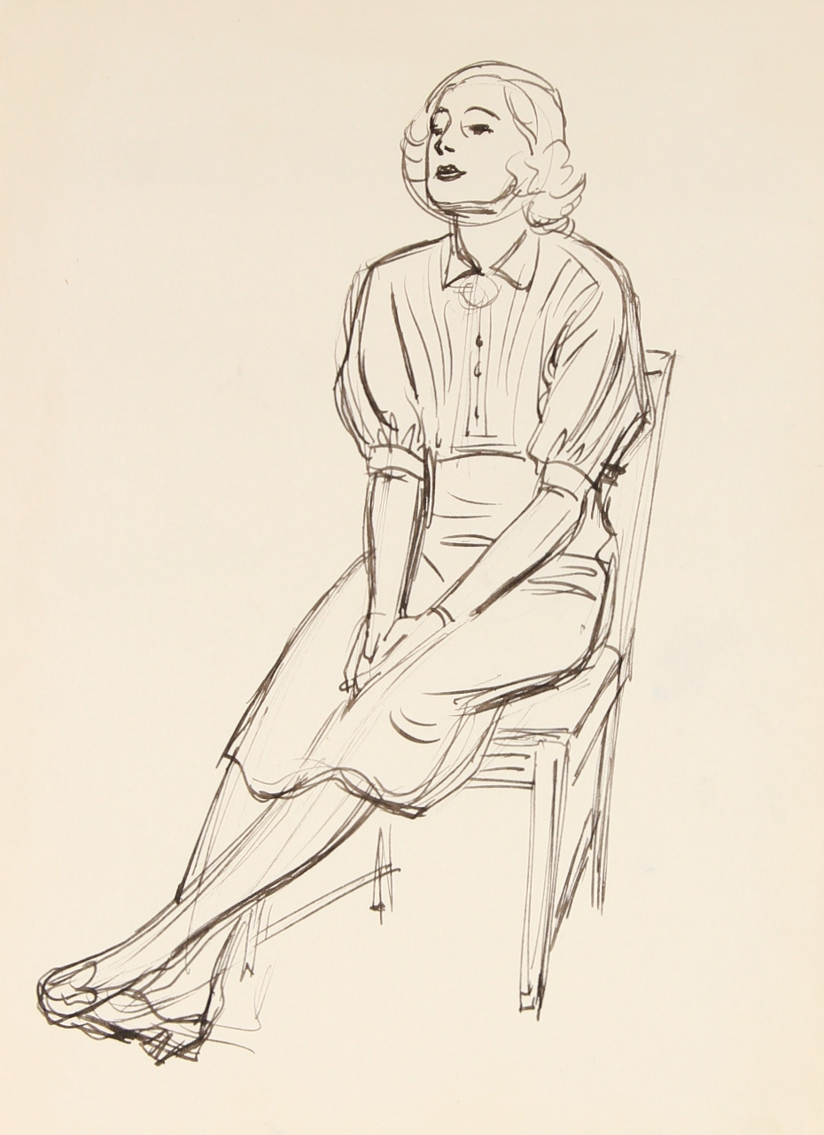 C. 1920s Woman In A Chair Ink Drawing