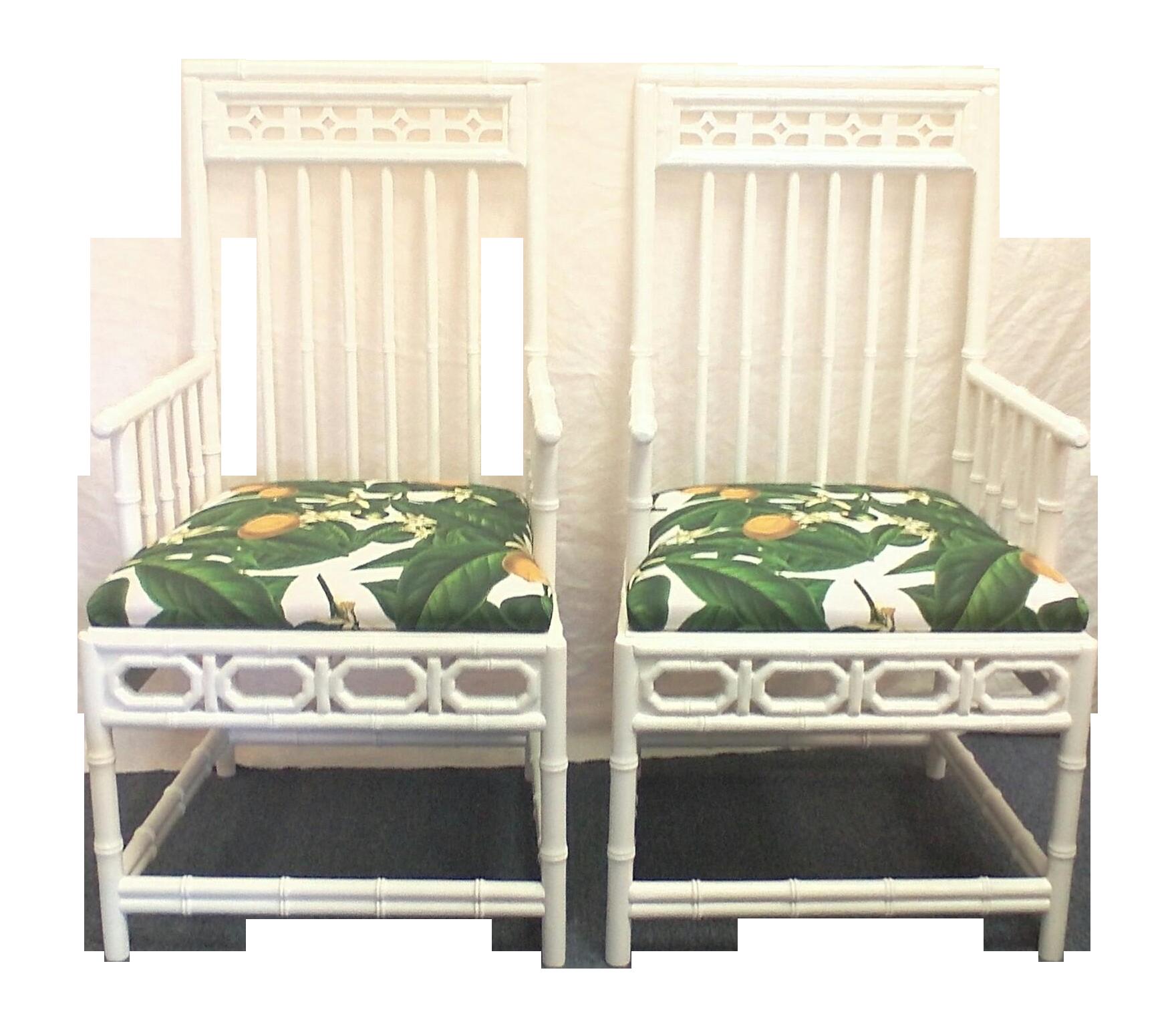 Chinese Chippendale Retro Lemon Chairs Pair Chairish