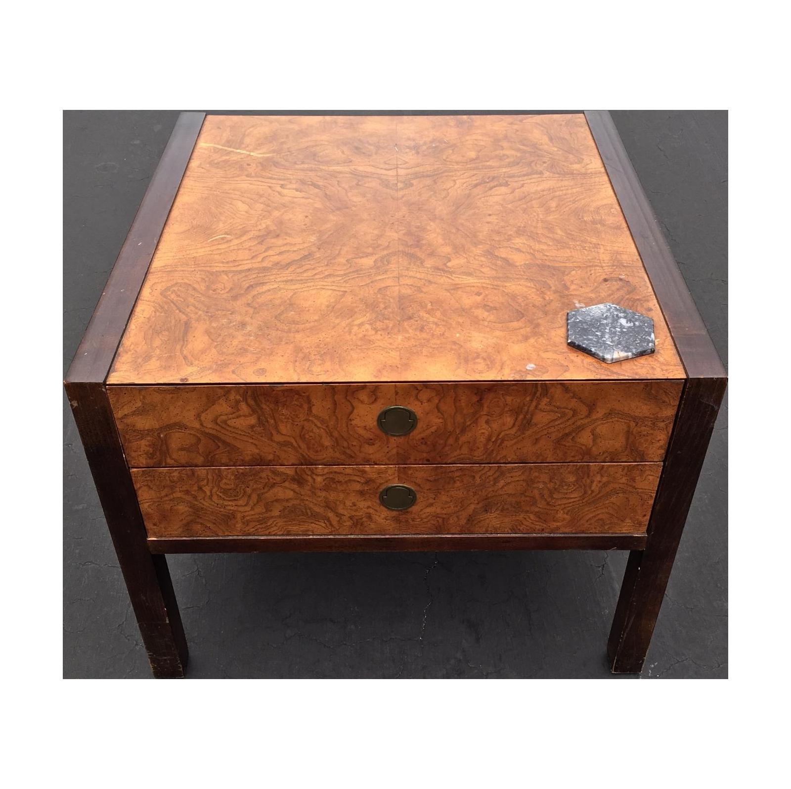 Burl Coffee Tables Burl Wood Mahogany 2 Drawer Side Table Chairish
