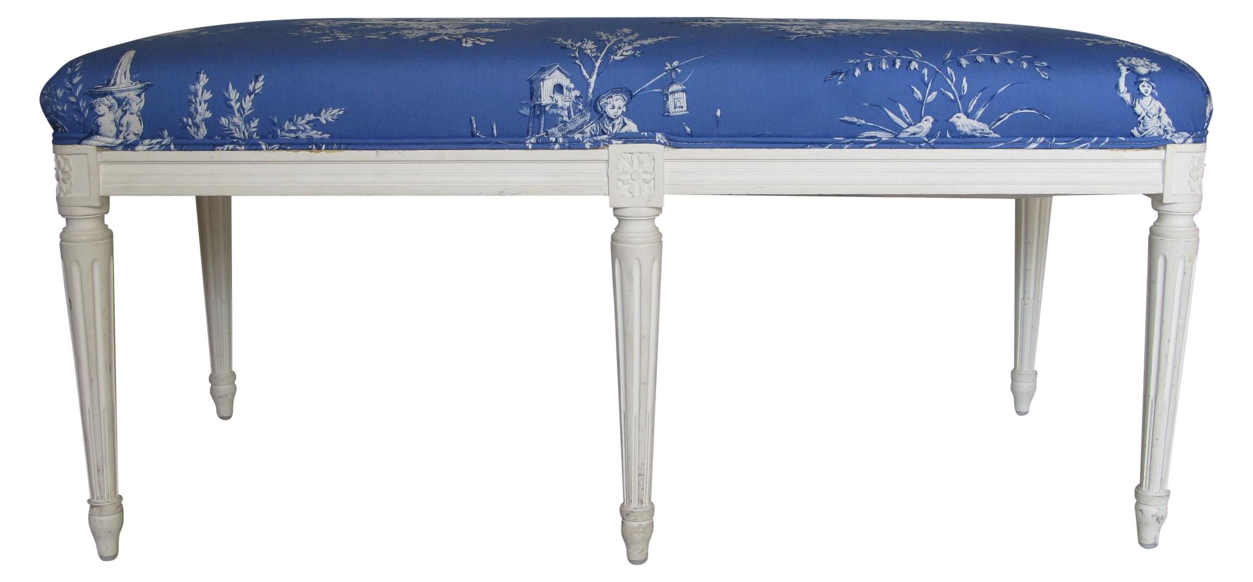 Vintage French Louis Xvi Style With Toile Bench Chairish