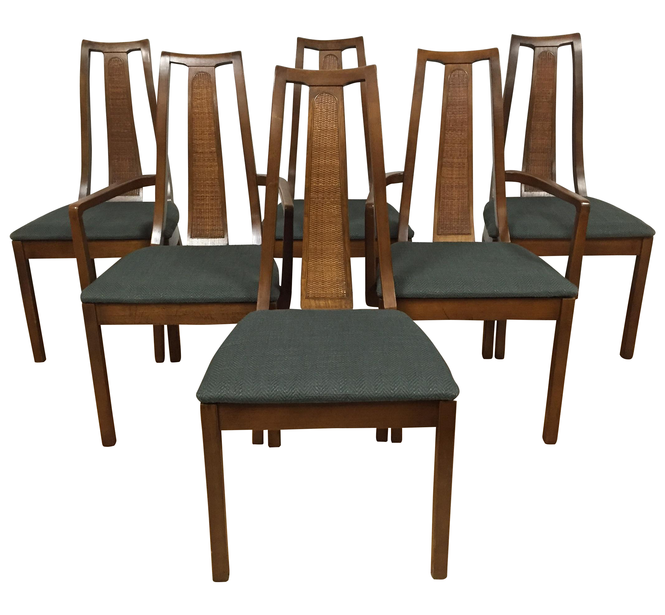 Mid Century Cane Back Dining Chairs Set of 6
