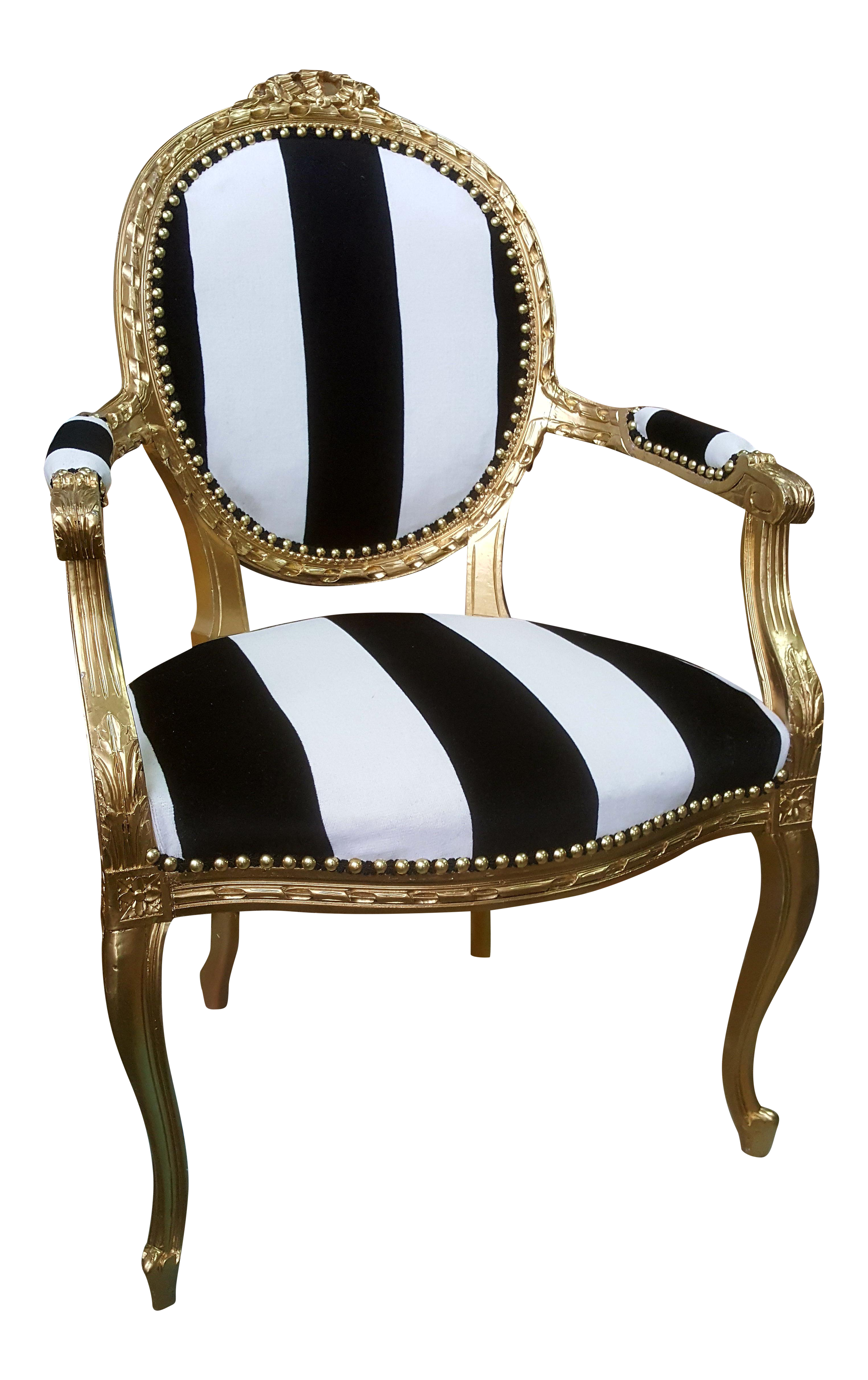 Antique Louis Xvi Chair In Gold Leaf With Black And White