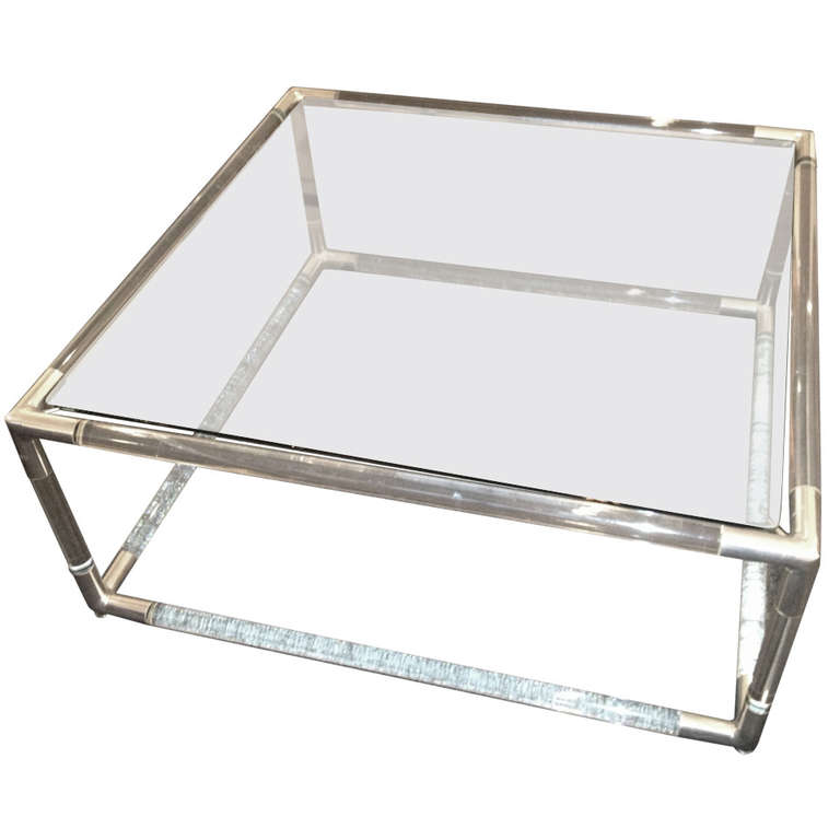 tubular lucite and chrome coffee table | chairish
