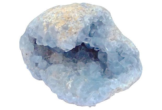 Natural Light Blue Quartz Geode Specimen Chairish